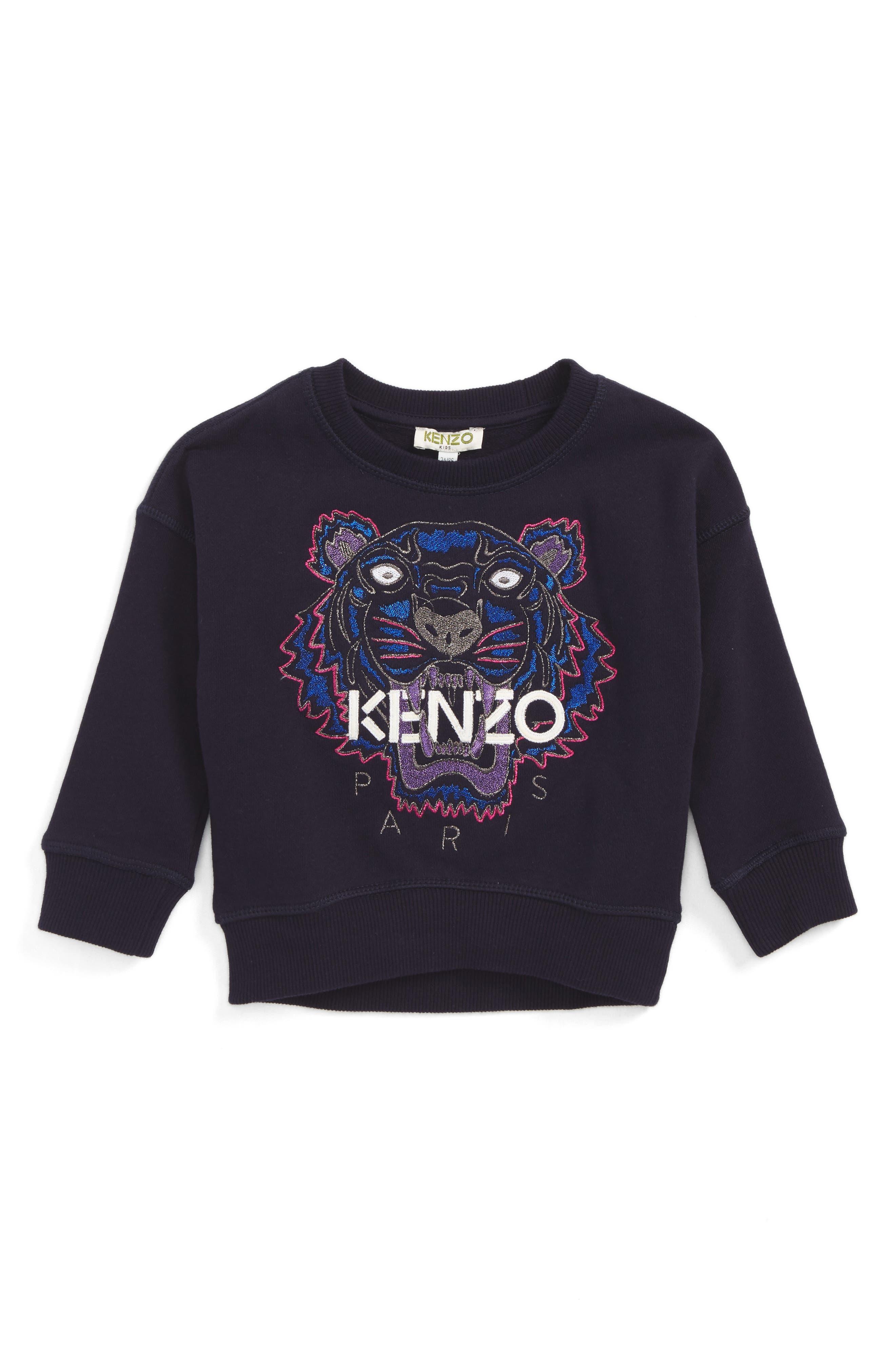 Main Image - KENZO Embroidered Tiger Logo Sweatshirt (Toddler Girls, Little Girls & Big Girls)