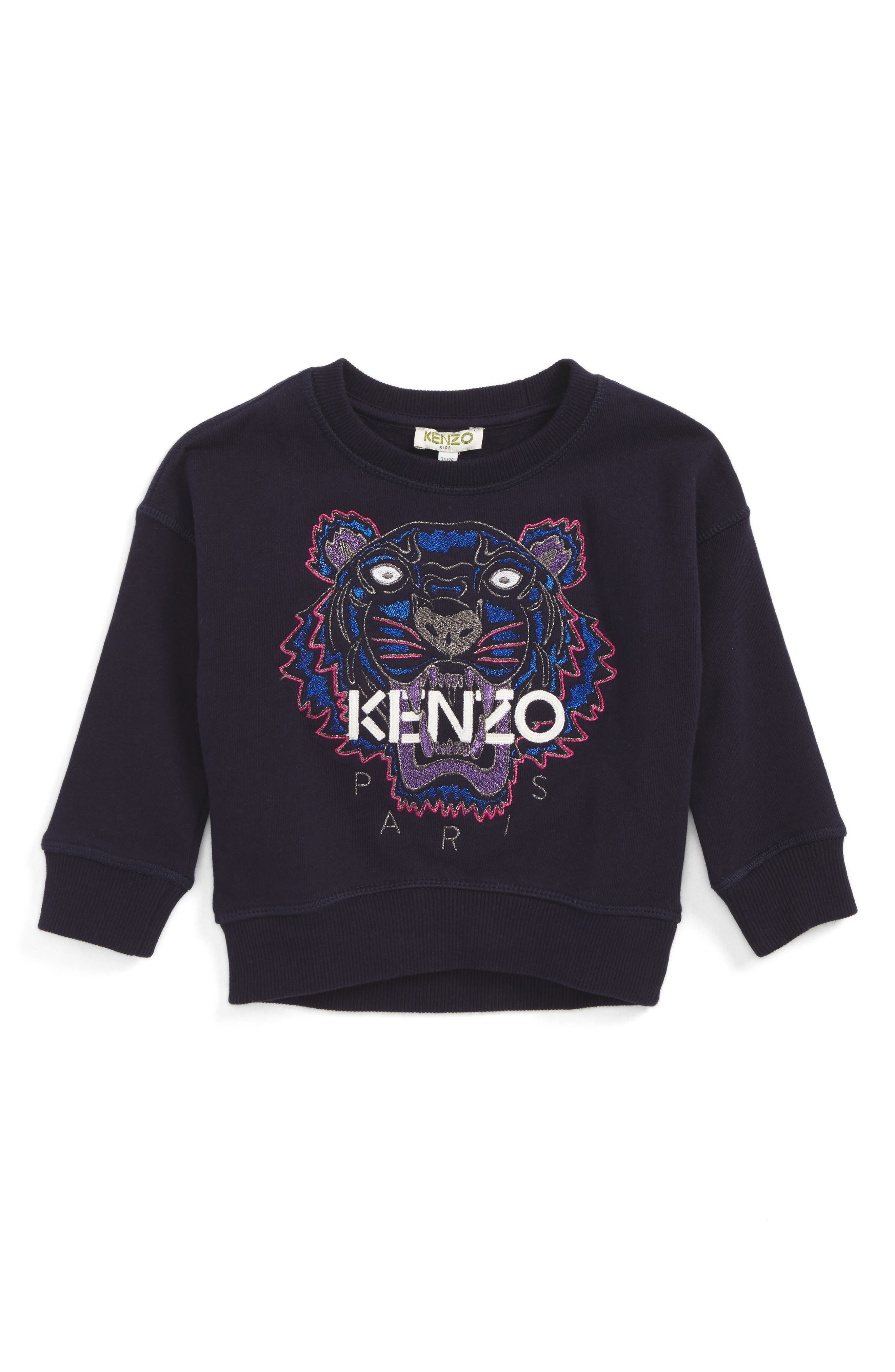 Embroidered Tiger Logo Sweatshirt,                         Main,                         color, Navy Blue