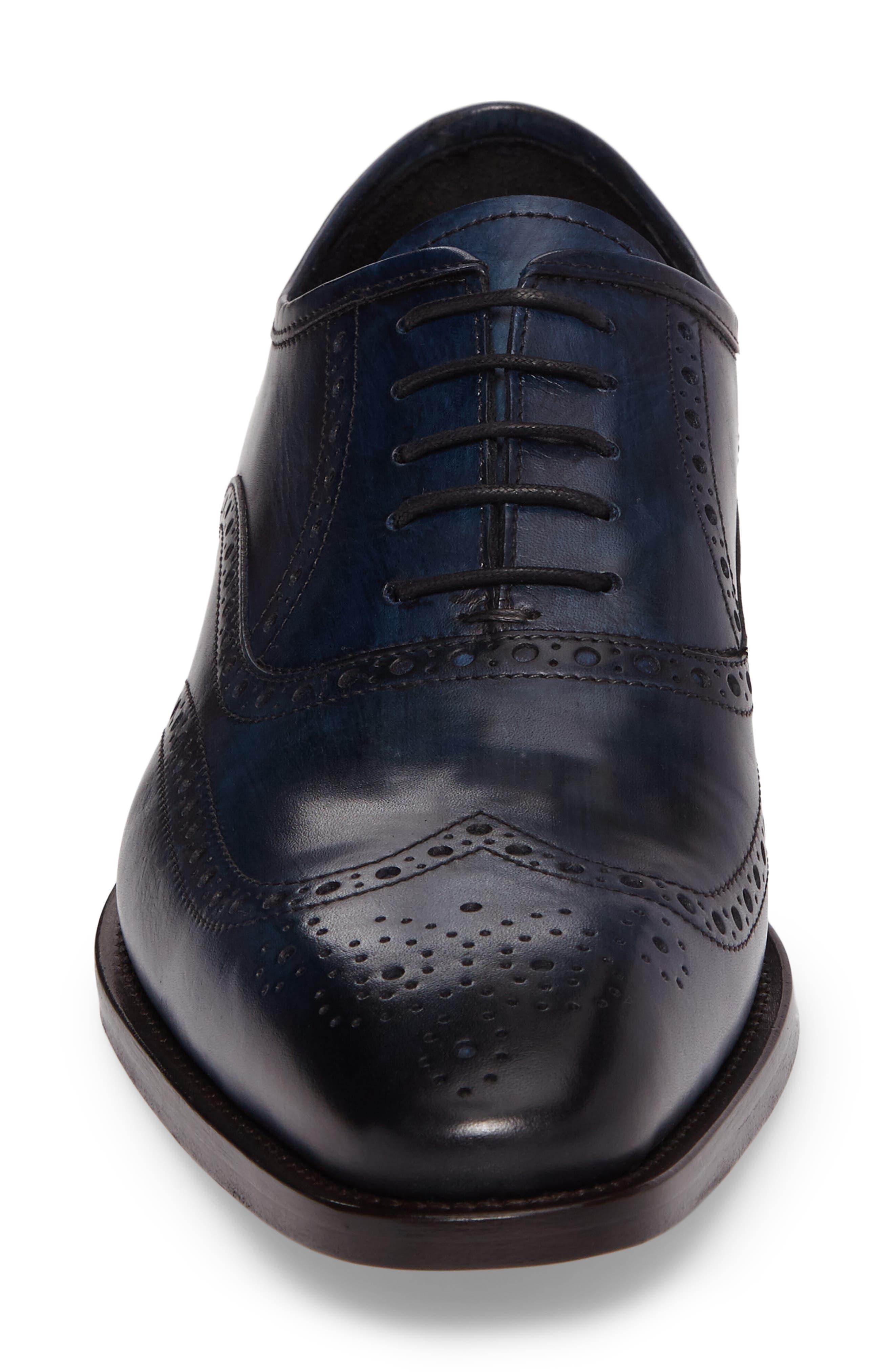 Sabina Medallion Toe Oxford,                             Alternate thumbnail 4, color,                             Ocean Blue Leather