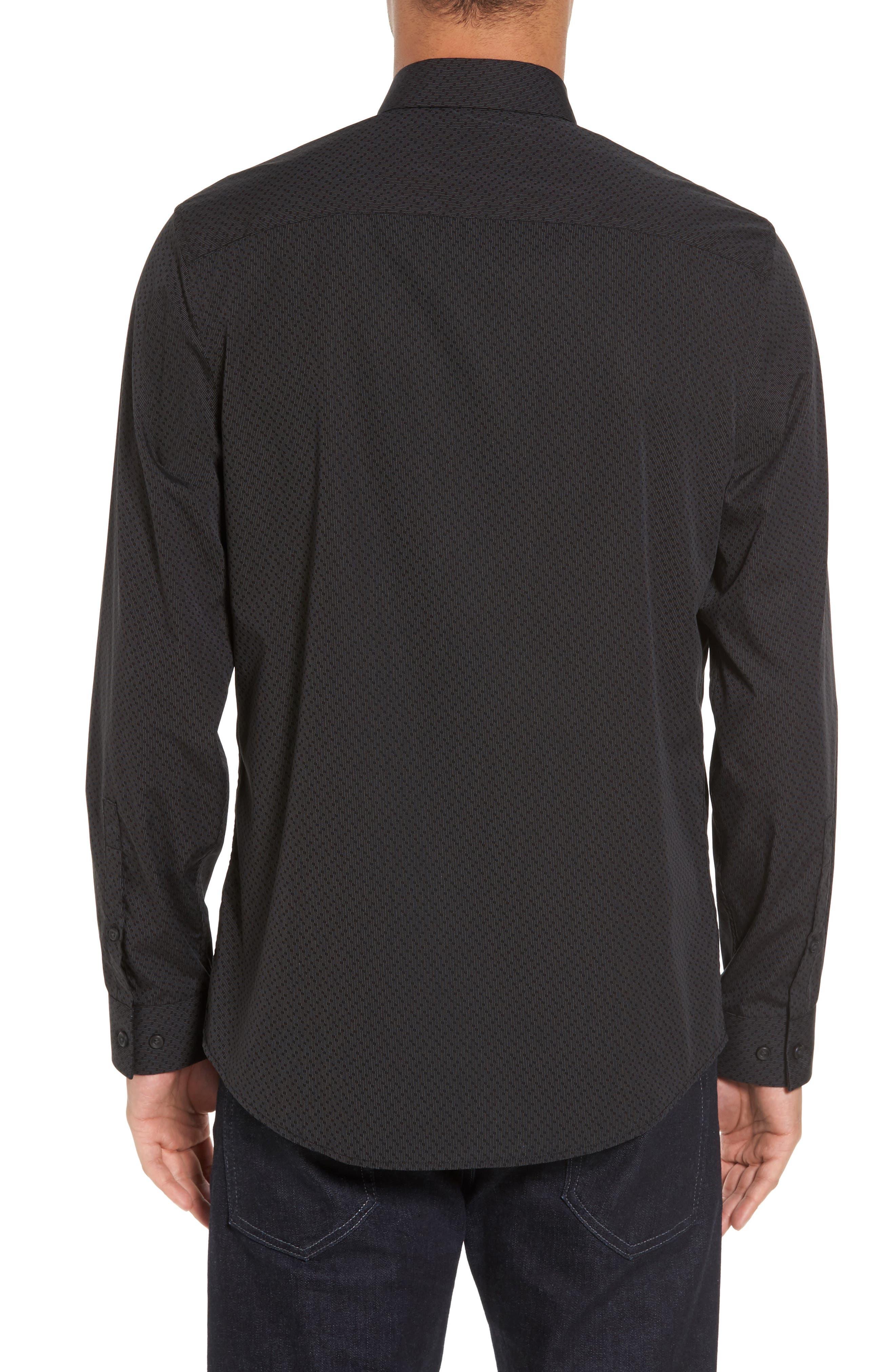 Trim Fit Print Sport Shirt,                             Alternate thumbnail 2, color,                             Black Caviar Dot Dobby