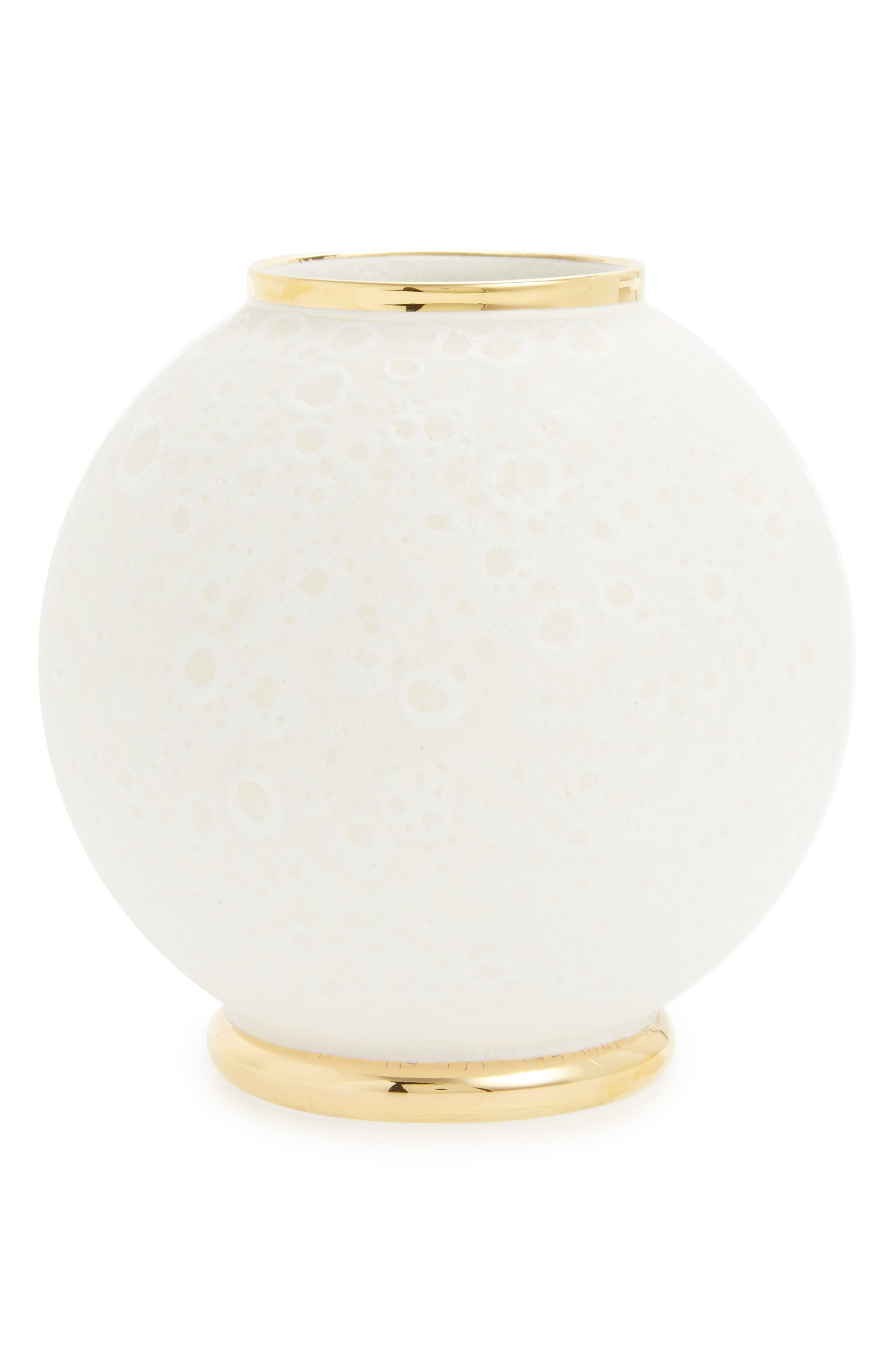 Marion Round Ceramic Vase,                         Main,                         color, White