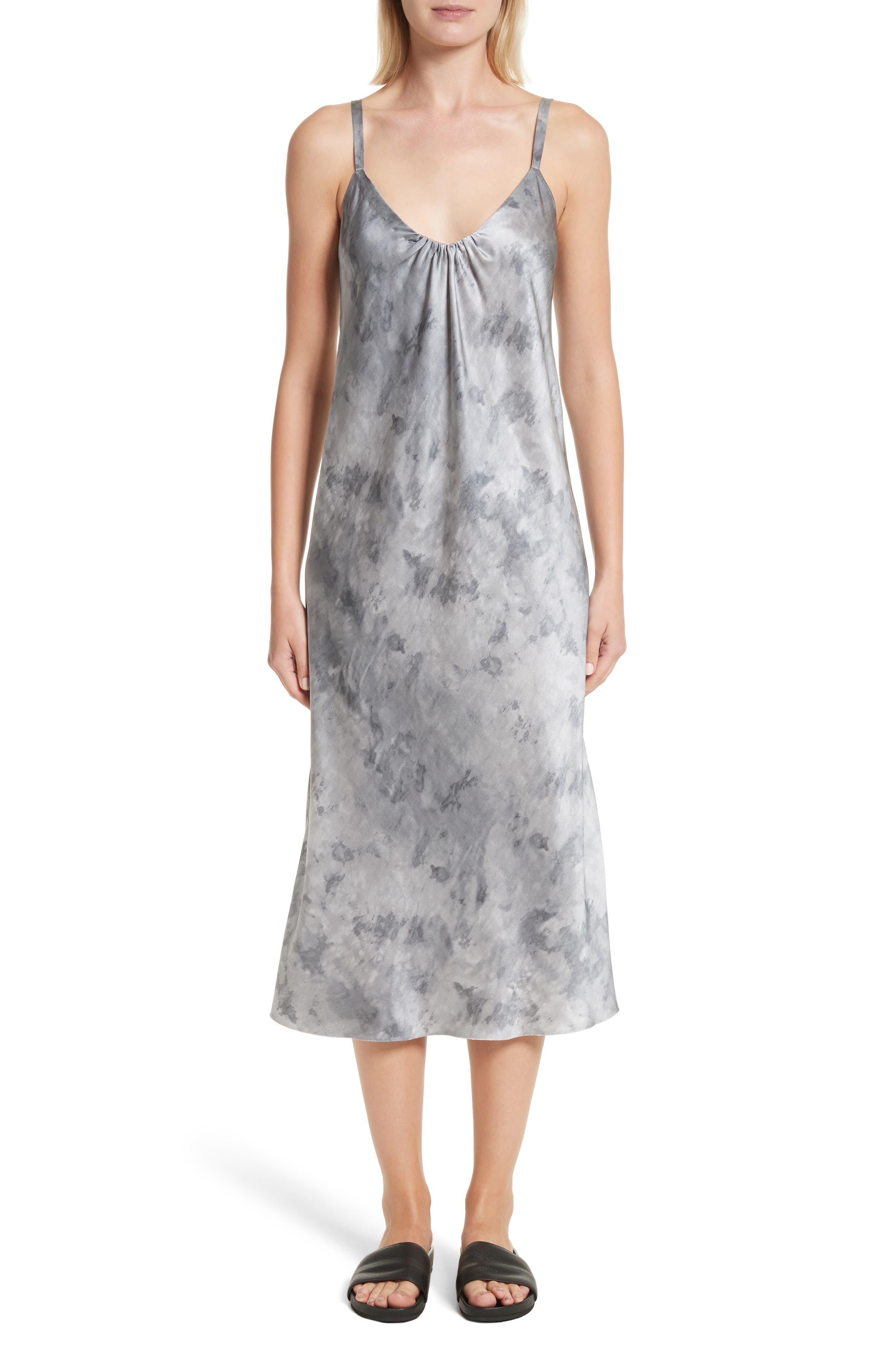 Watercolor Marble Silk Midi Dress,                         Main,                         color, Dark Smoke