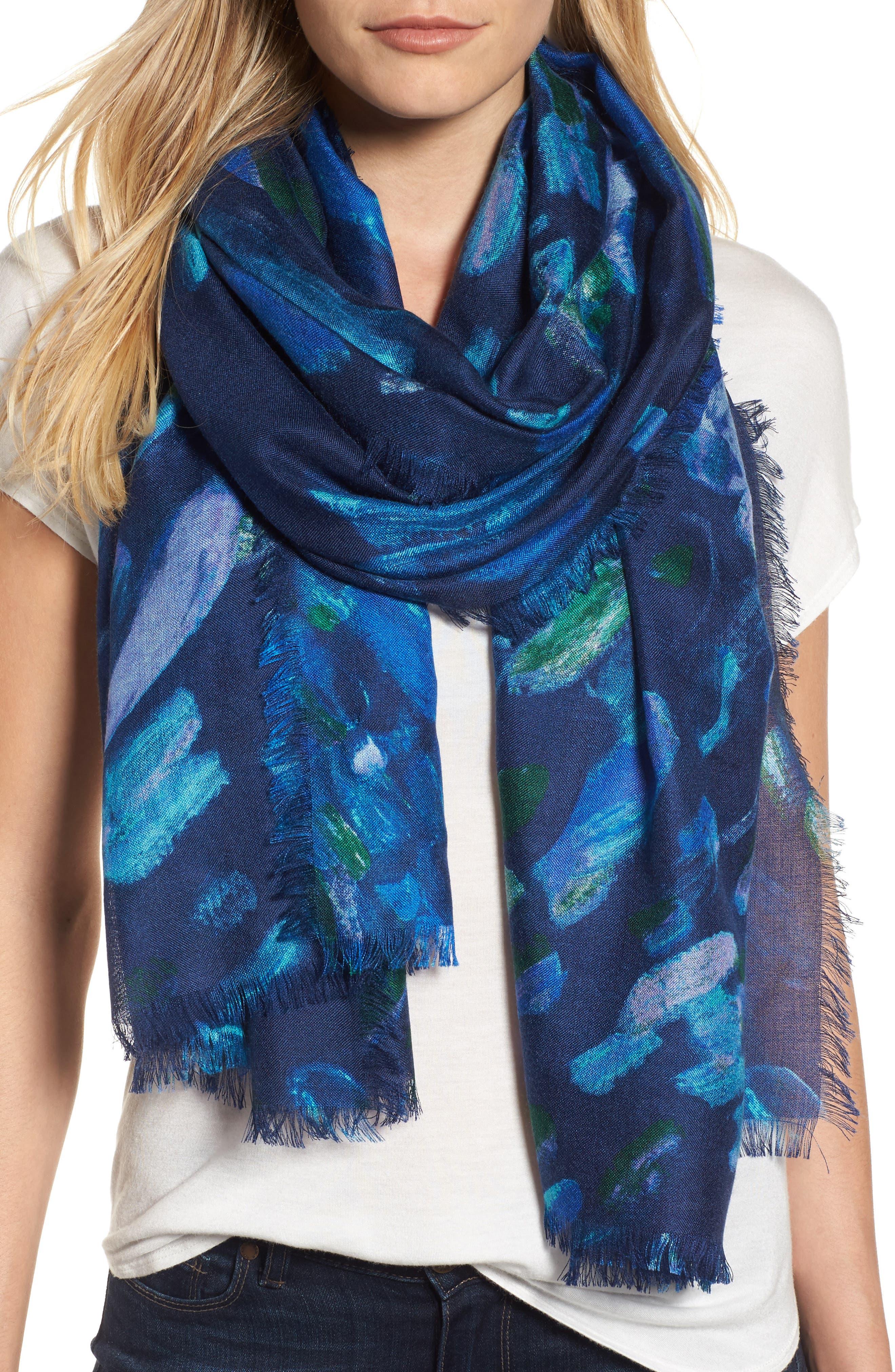 Nordstrom Impressionist Dots Cashmere & Silk Scarf