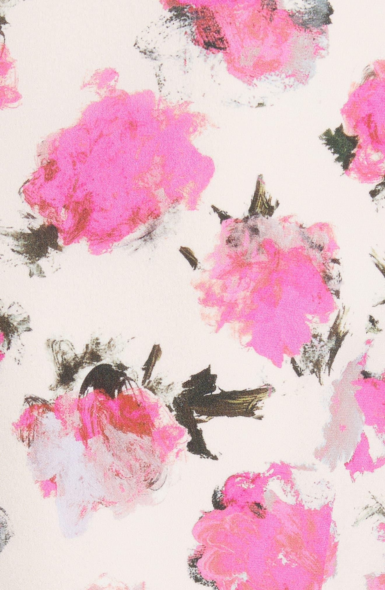 Floral Print Silk Georgette Top,                             Alternate thumbnail 5, color,                             Black/ Fucshia Carnation