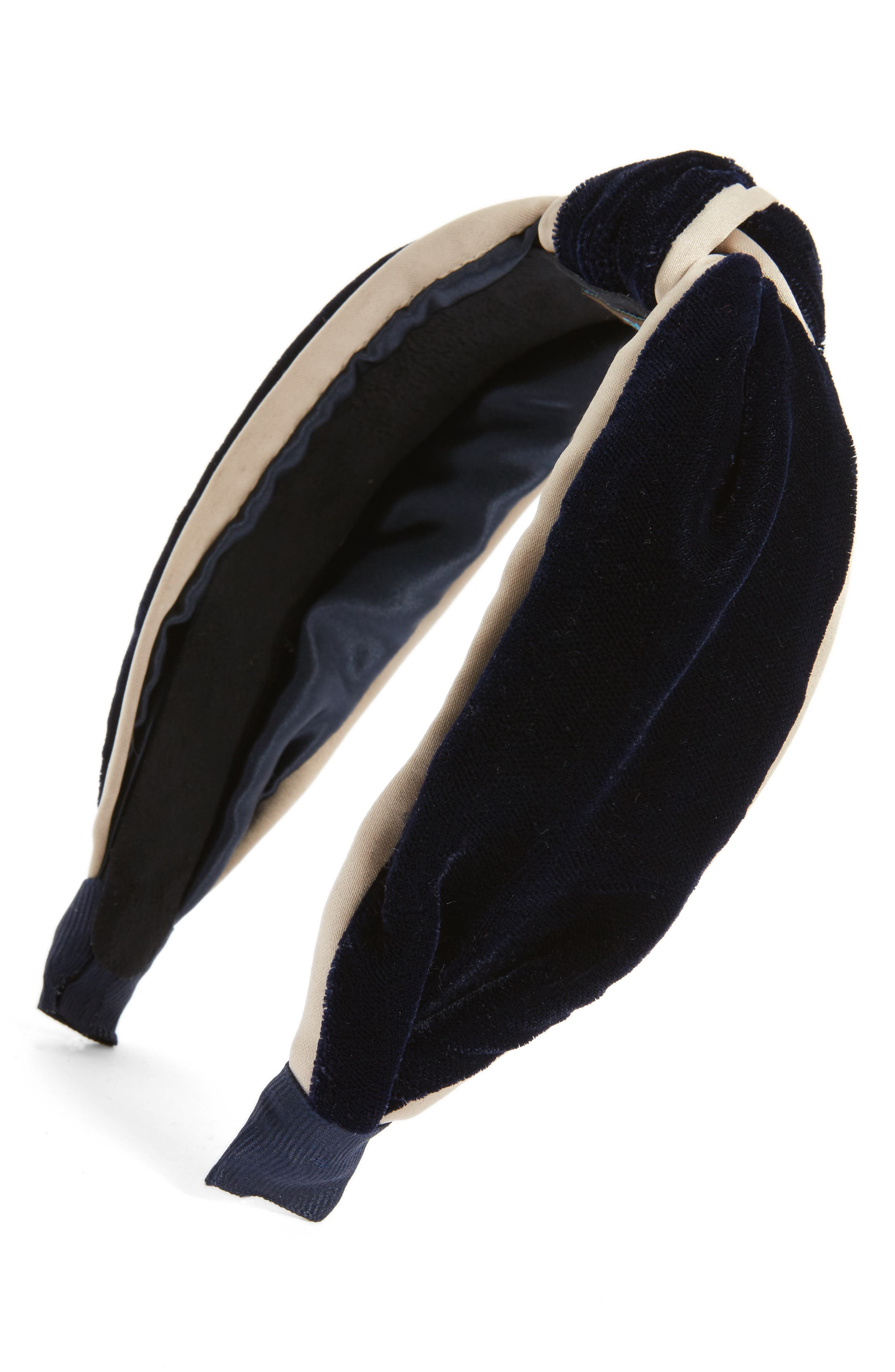 Velvet Knot Headband,                         Main,                         color, Navy