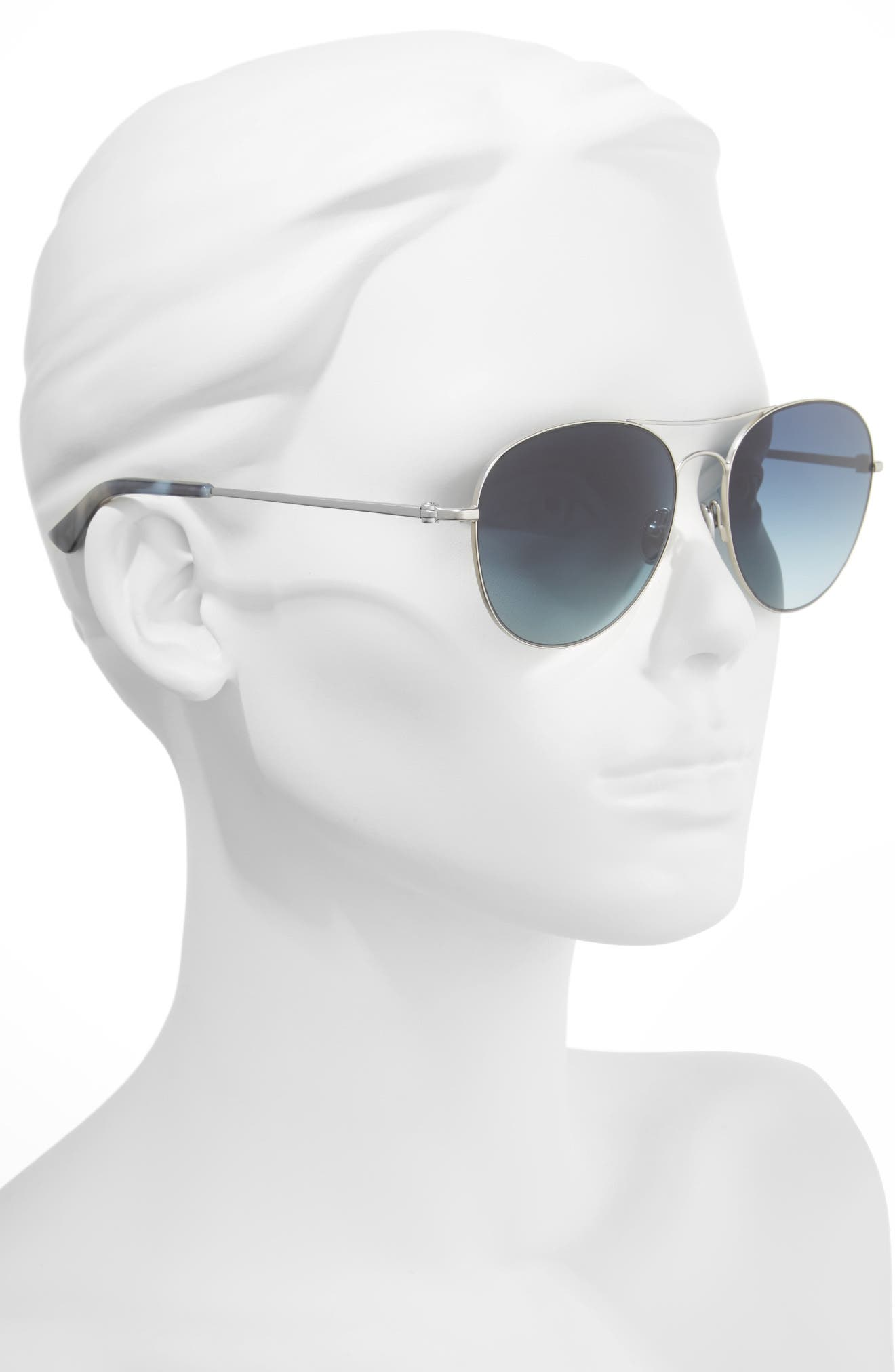 57mm Aviator Sunglasses,                             Alternate thumbnail 2, color,                             Satin Nickel