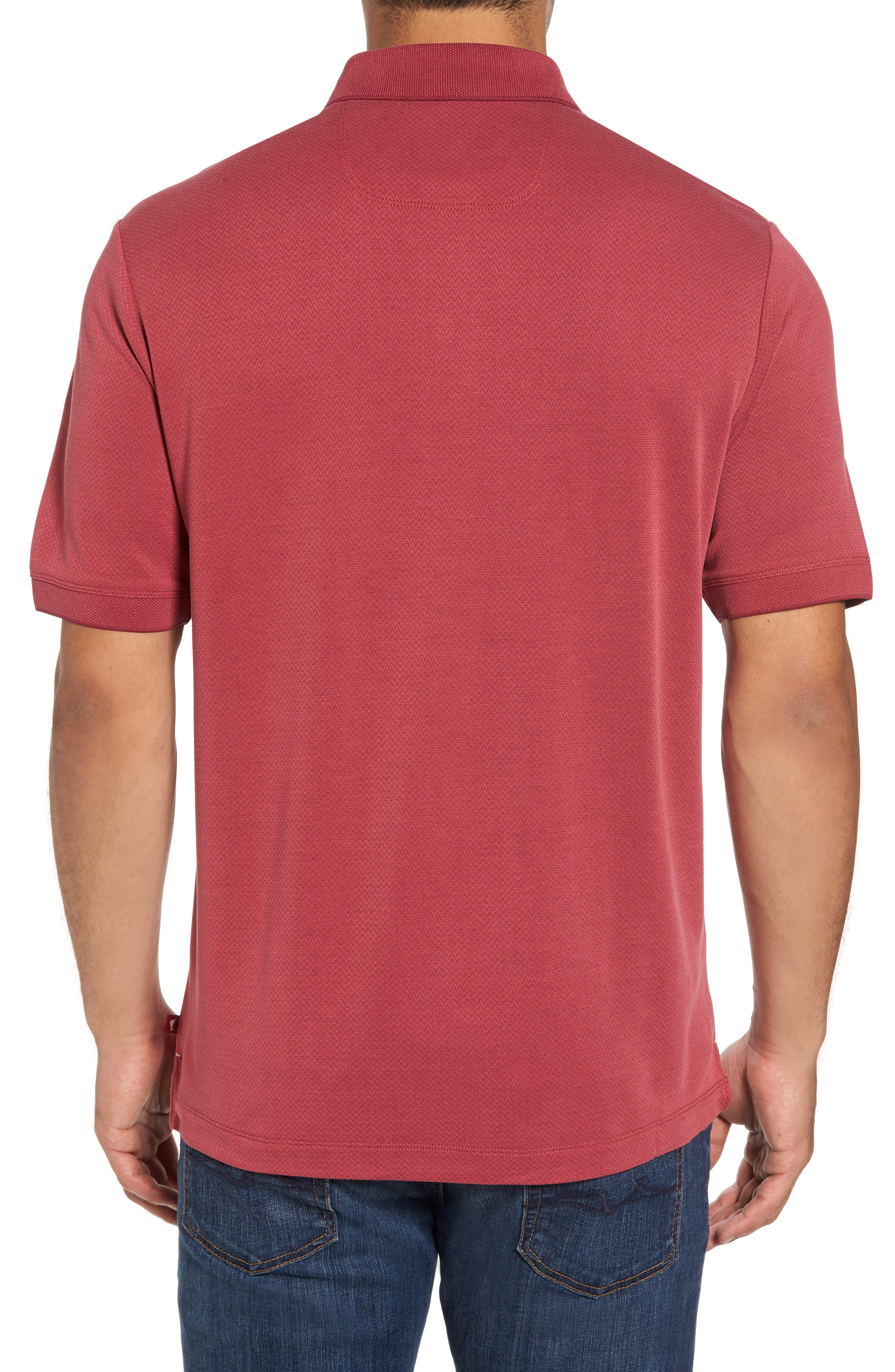 Ocean View Short Sleeve Jacquard Polo,                             Alternate thumbnail 2, color,                             Beet Red