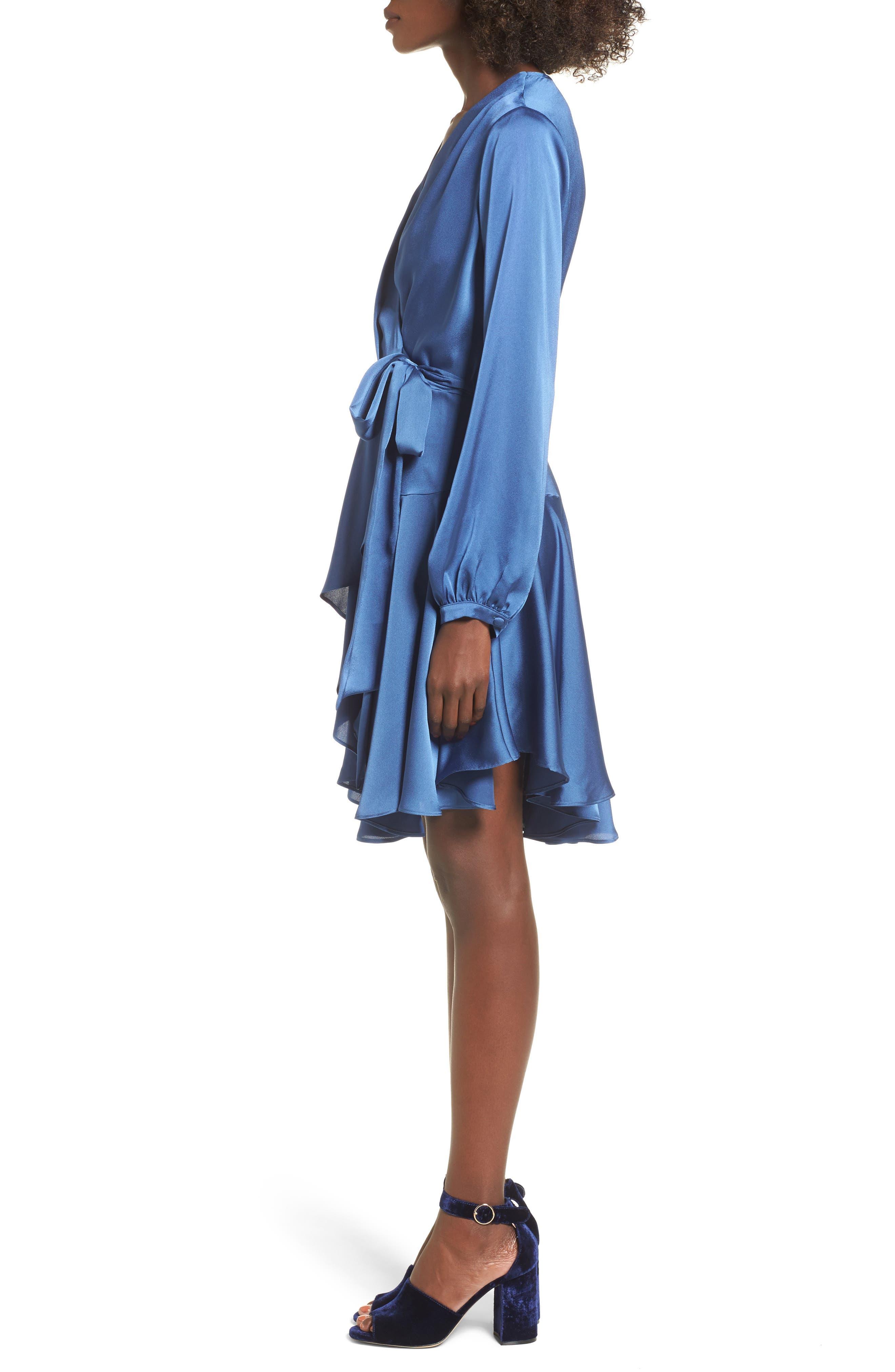 Elsa Satin Ruffle Wrap Minidress,                             Alternate thumbnail 4, color,                             Blue