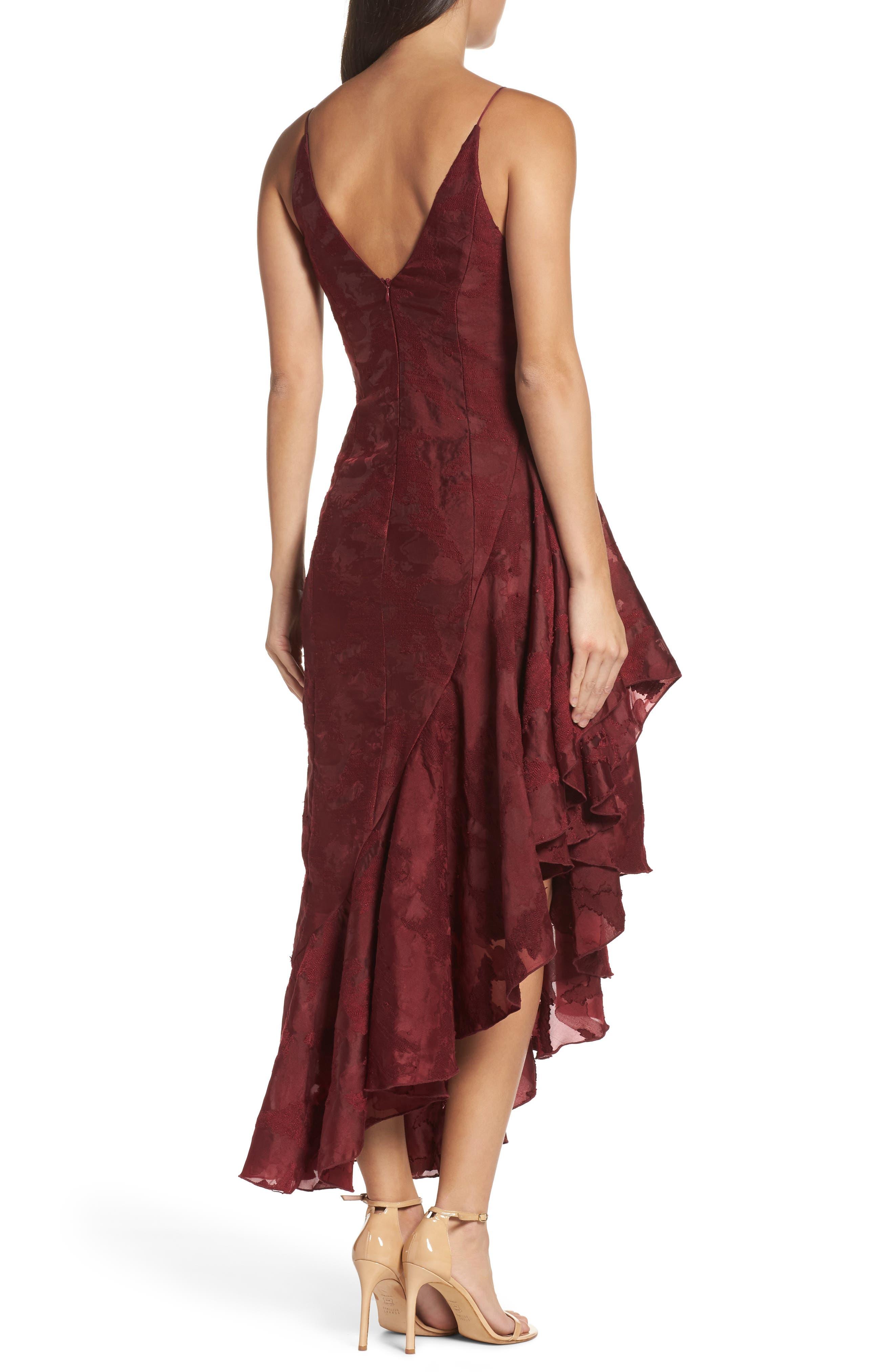 Ember Burnout Asymmetrical Ruffle Dress,                             Alternate thumbnail 3, color,                             Ruby