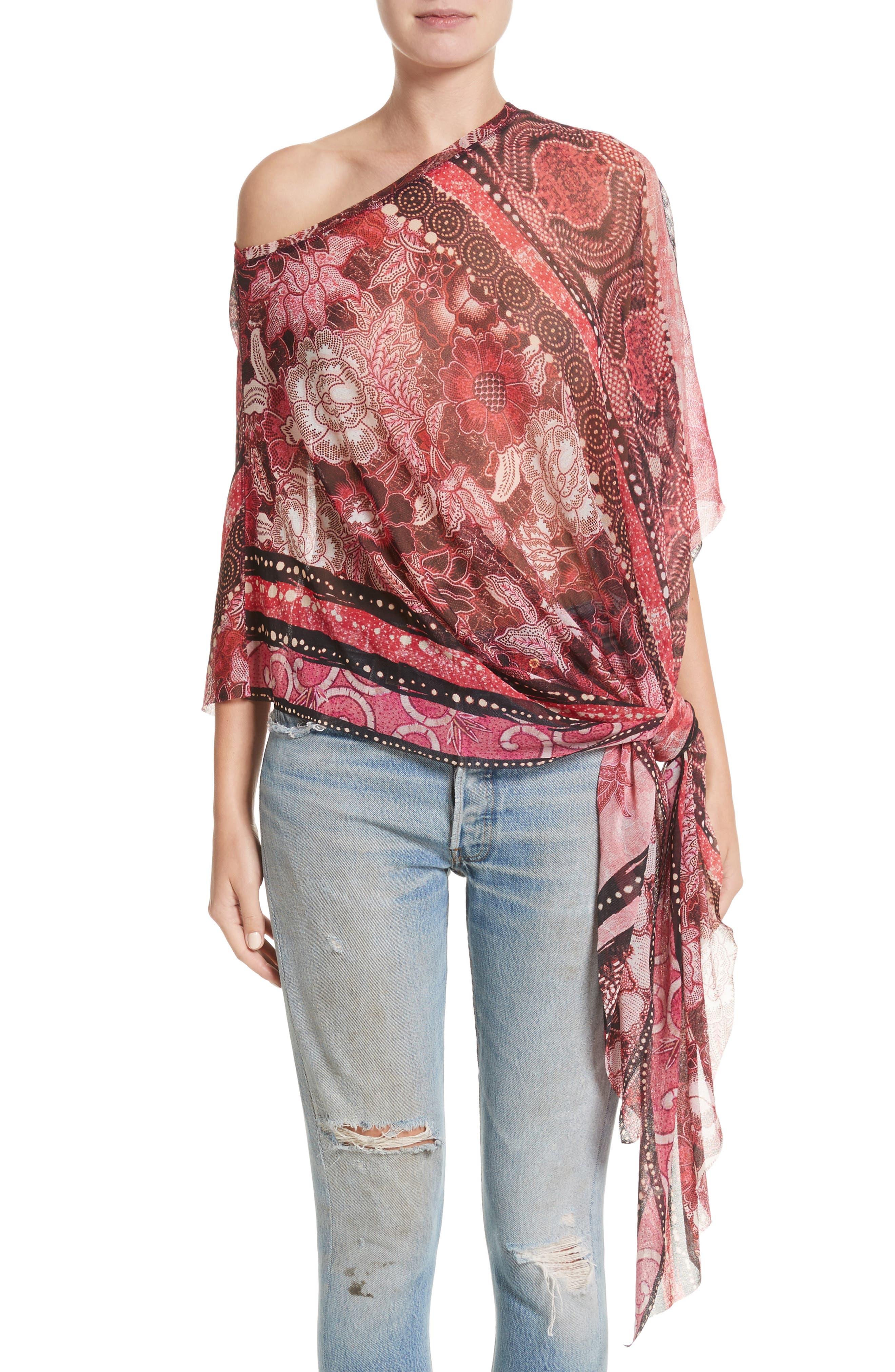 Main Image - Fuzzi Print Tulle Handkerchief Hem Shawl Top