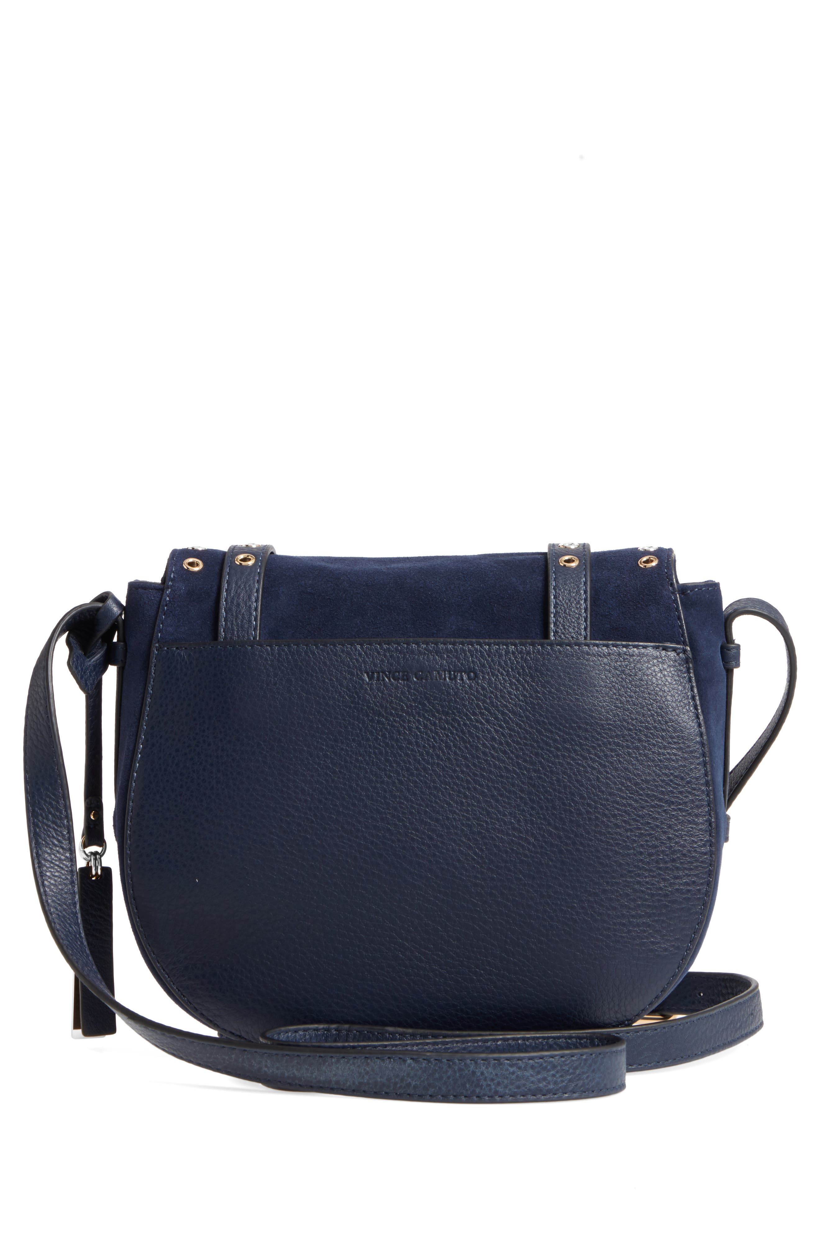 Areli Suede & Leather Crossbody Saddle Bag,                             Alternate thumbnail 3, color,                             Winter Navy