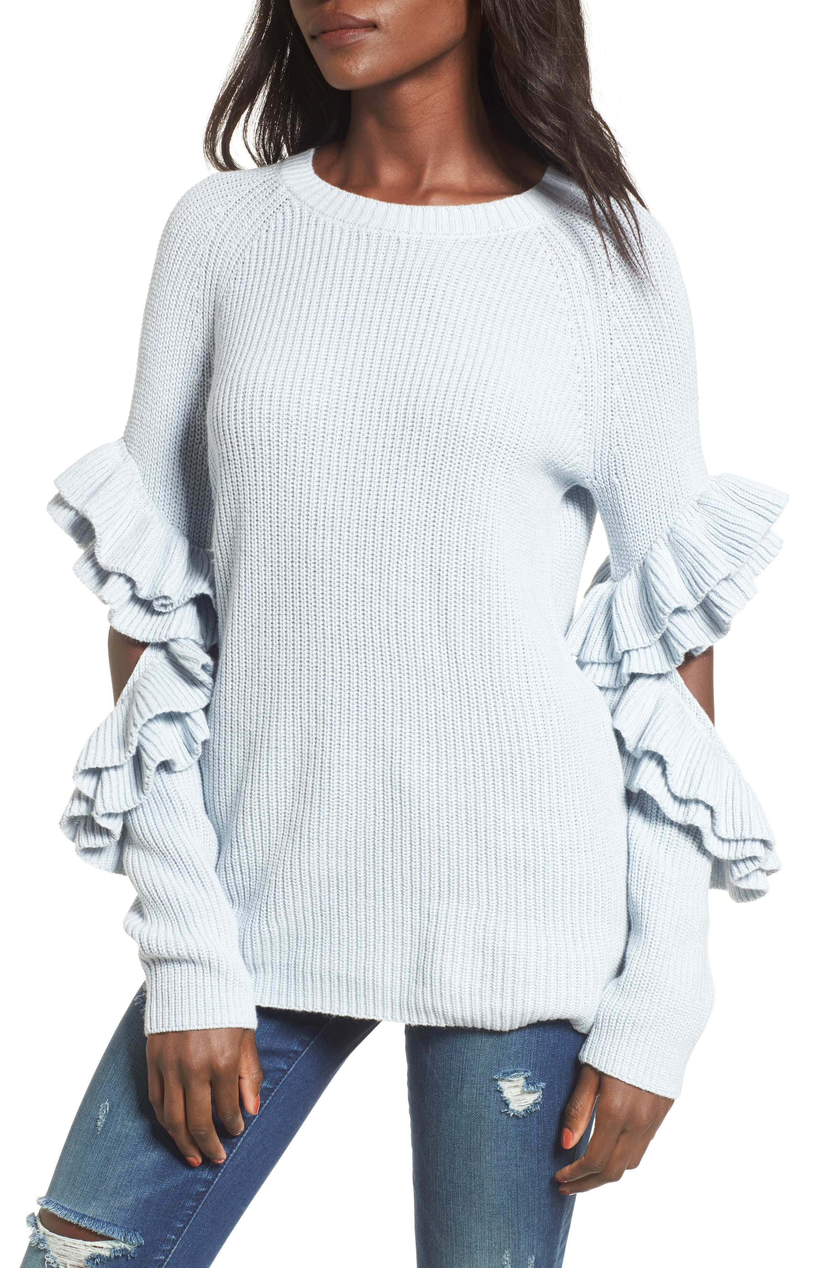 Main Image - BP. Elbow Cutout Ruffle Sweater