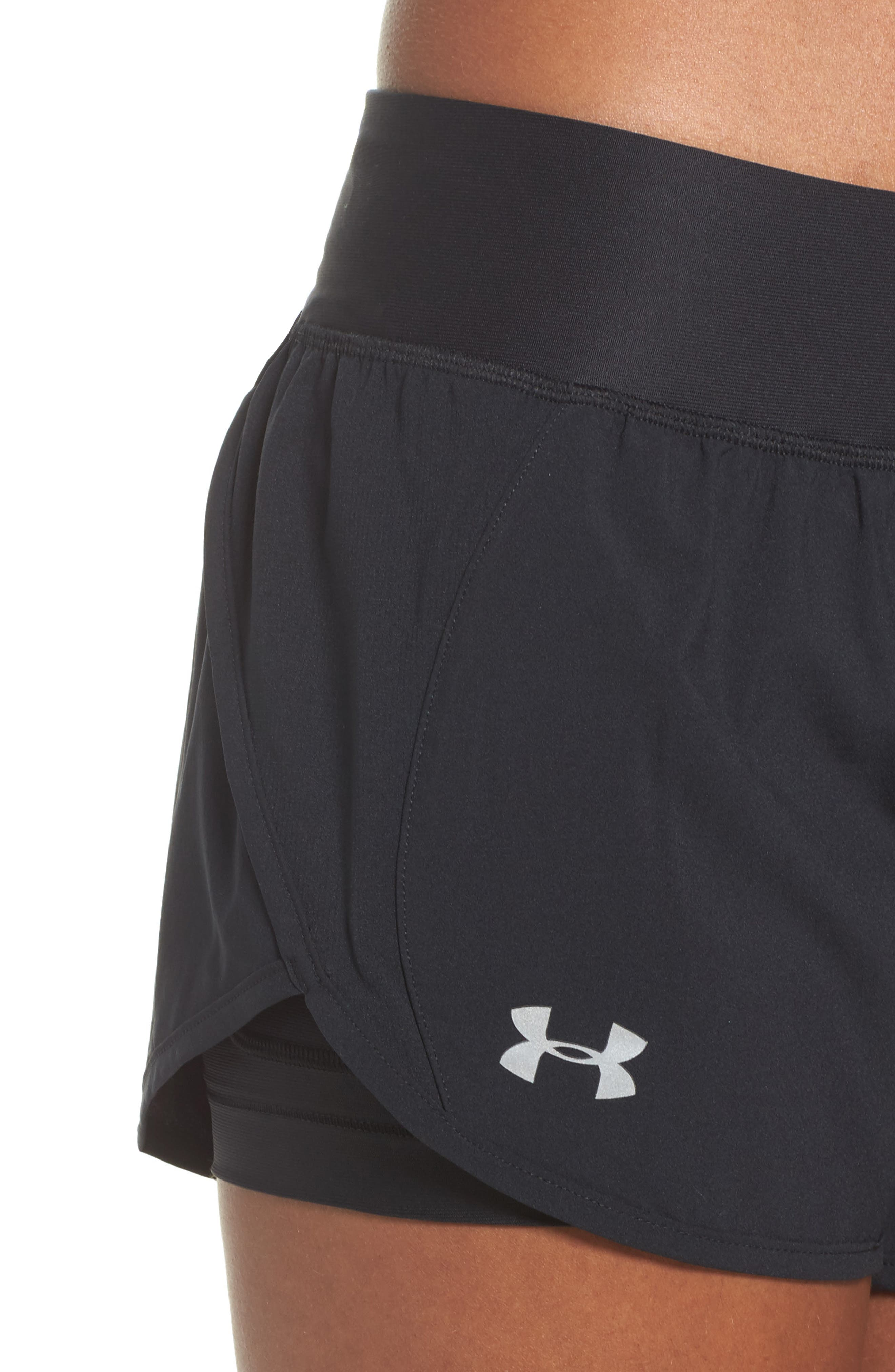 Launch Tulip Running Shorts,                             Alternate thumbnail 4, color,                             Black/ Black/ Reflective