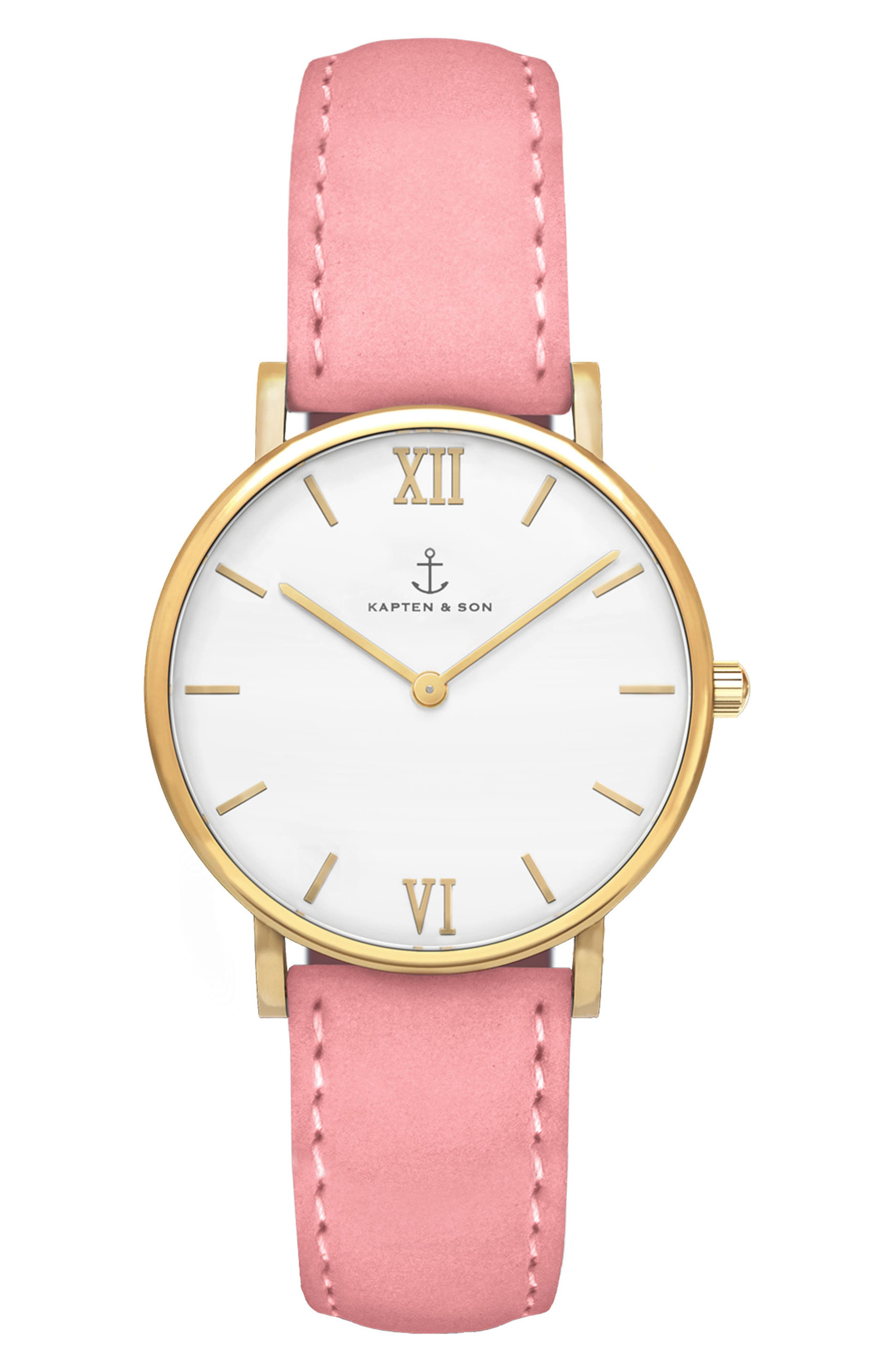 Joy Leather Strap Watch, 32mm,                         Main,                         color, Pink/ White/ Gold