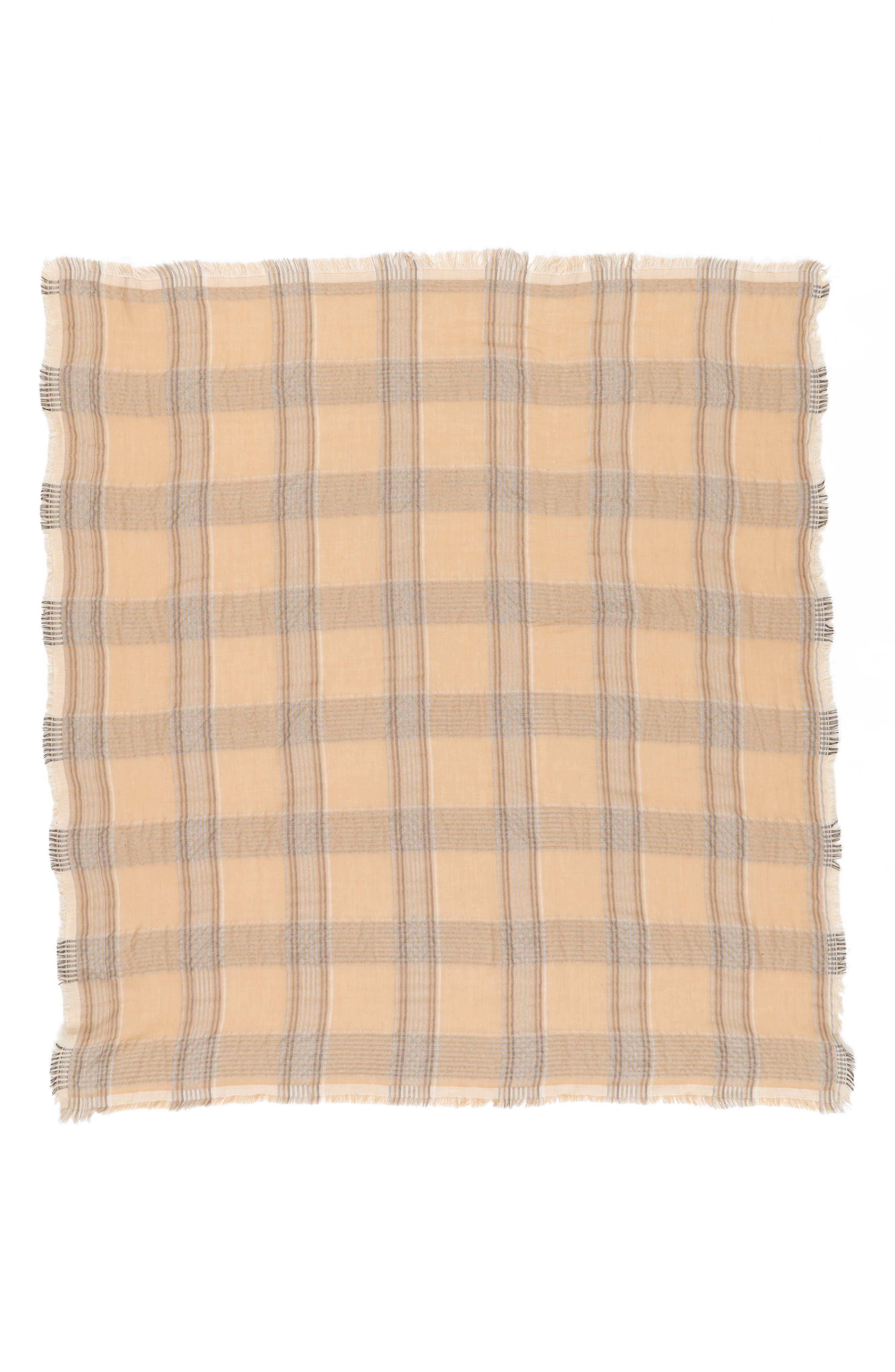 Reversible Plaid Scarf,                             Alternate thumbnail 2, color,                             Tan Multi