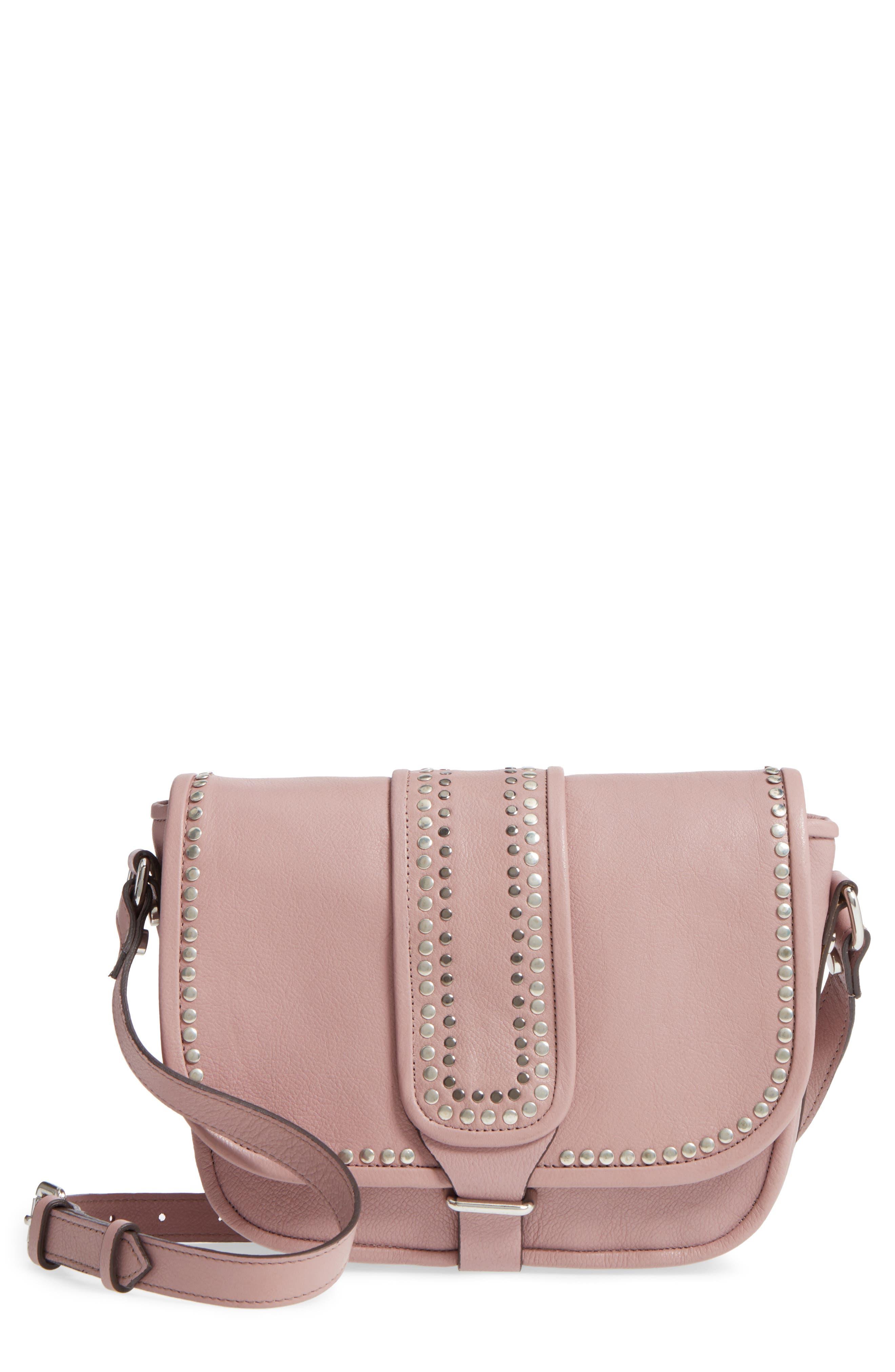 Premium Leather Studded Shoulder Bag,                             Main thumbnail 1, color,                             Blush