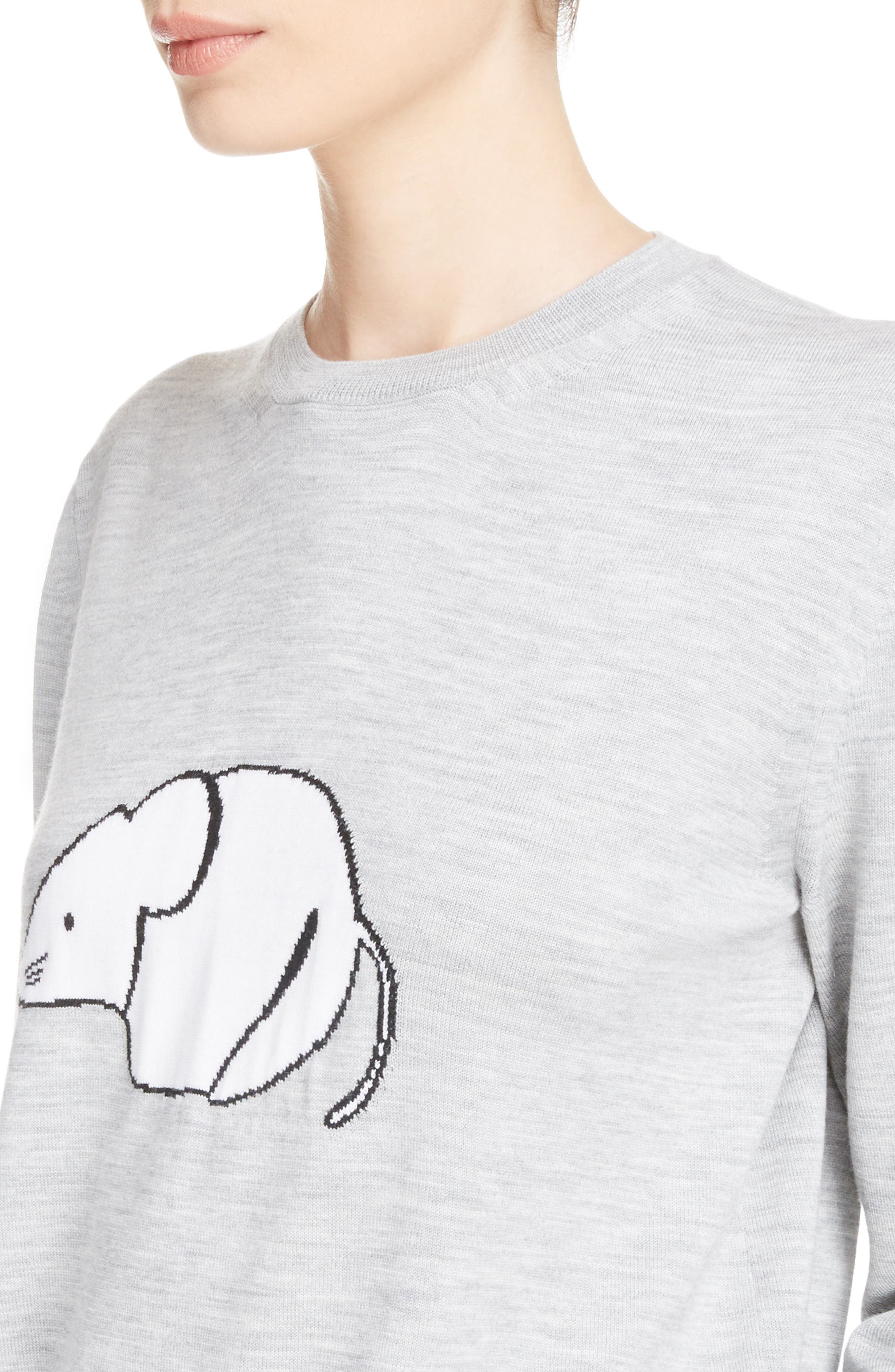Mouse Intarsia Wool Sweater,                             Alternate thumbnail 4, color,                             Light Grey