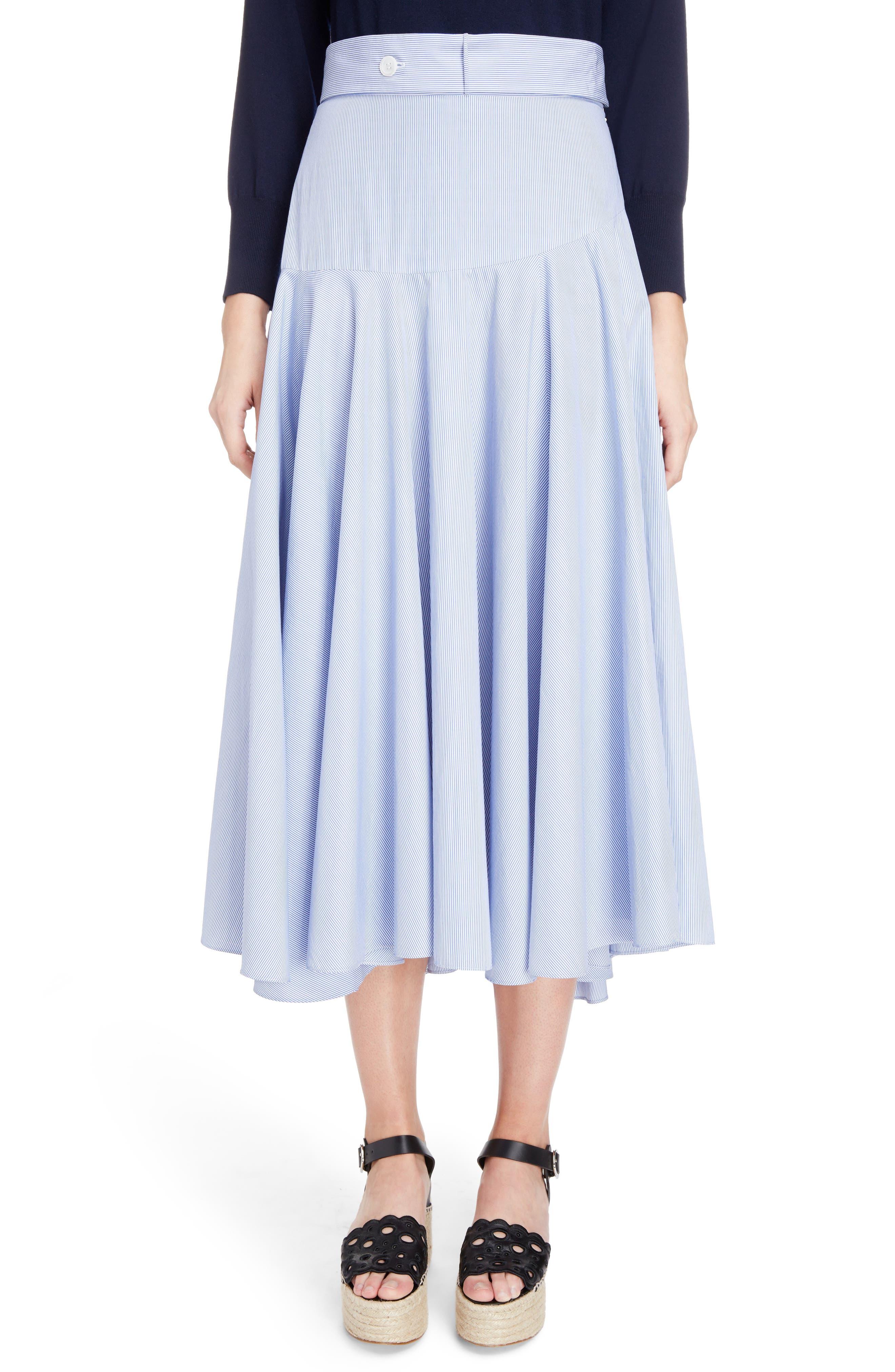 Loewe Stripe Cotton Skater Skirt