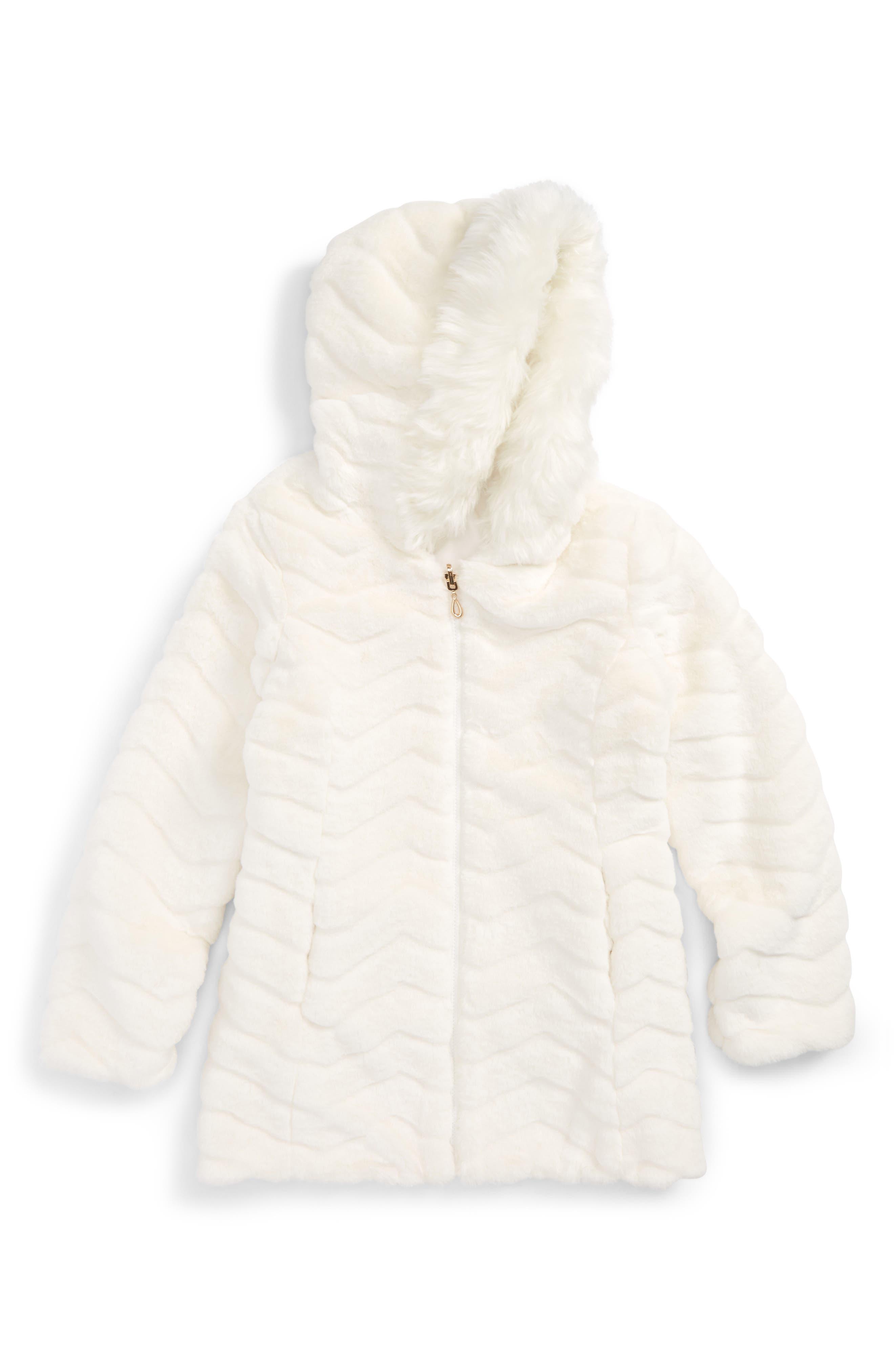Reversible Faux Fur Hooded Jacket,                             Main thumbnail 1, color,                             Marshmallow