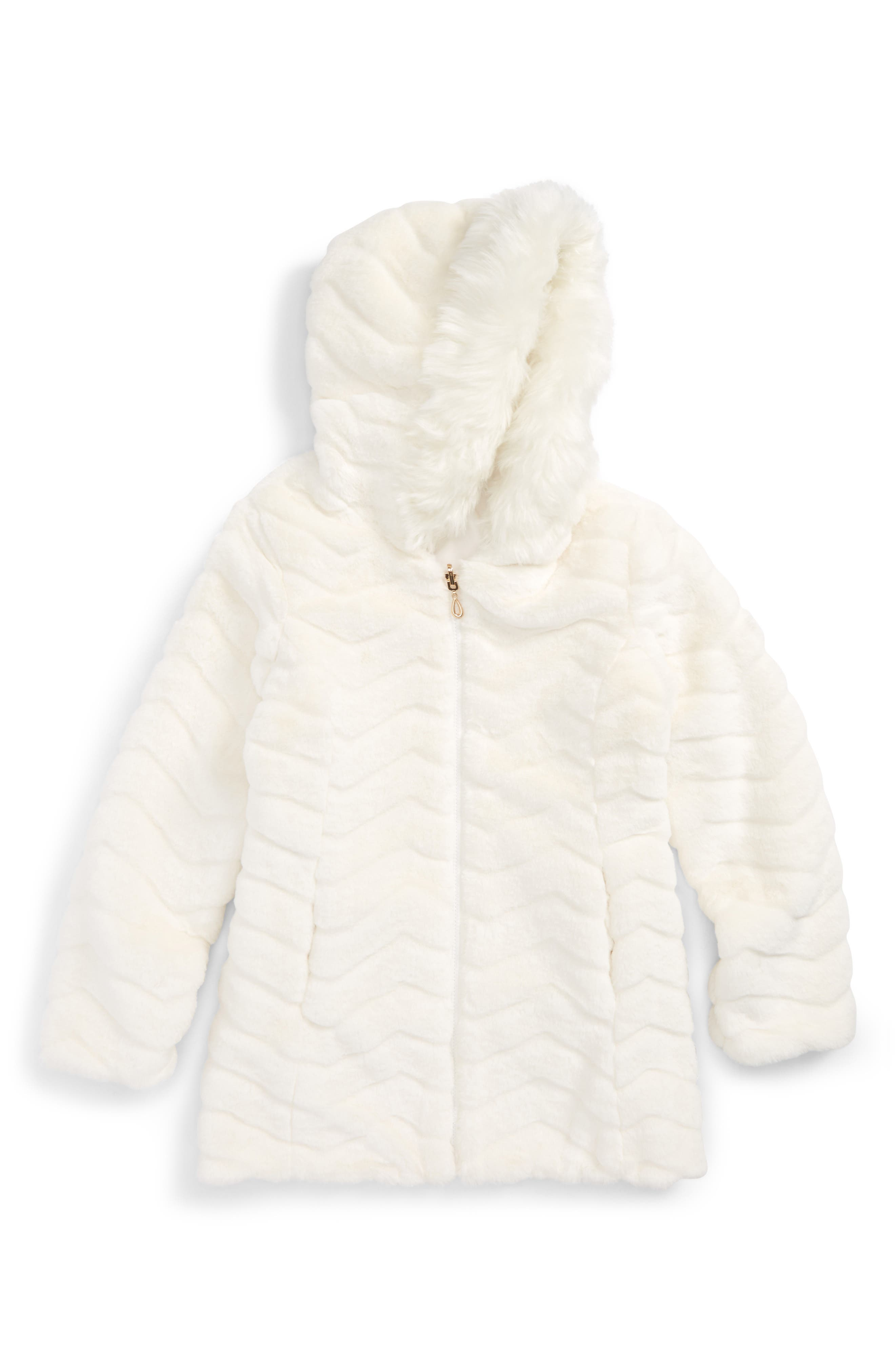 Reversible Faux Fur Hooded Jacket,                         Main,                         color, Marshmallow
