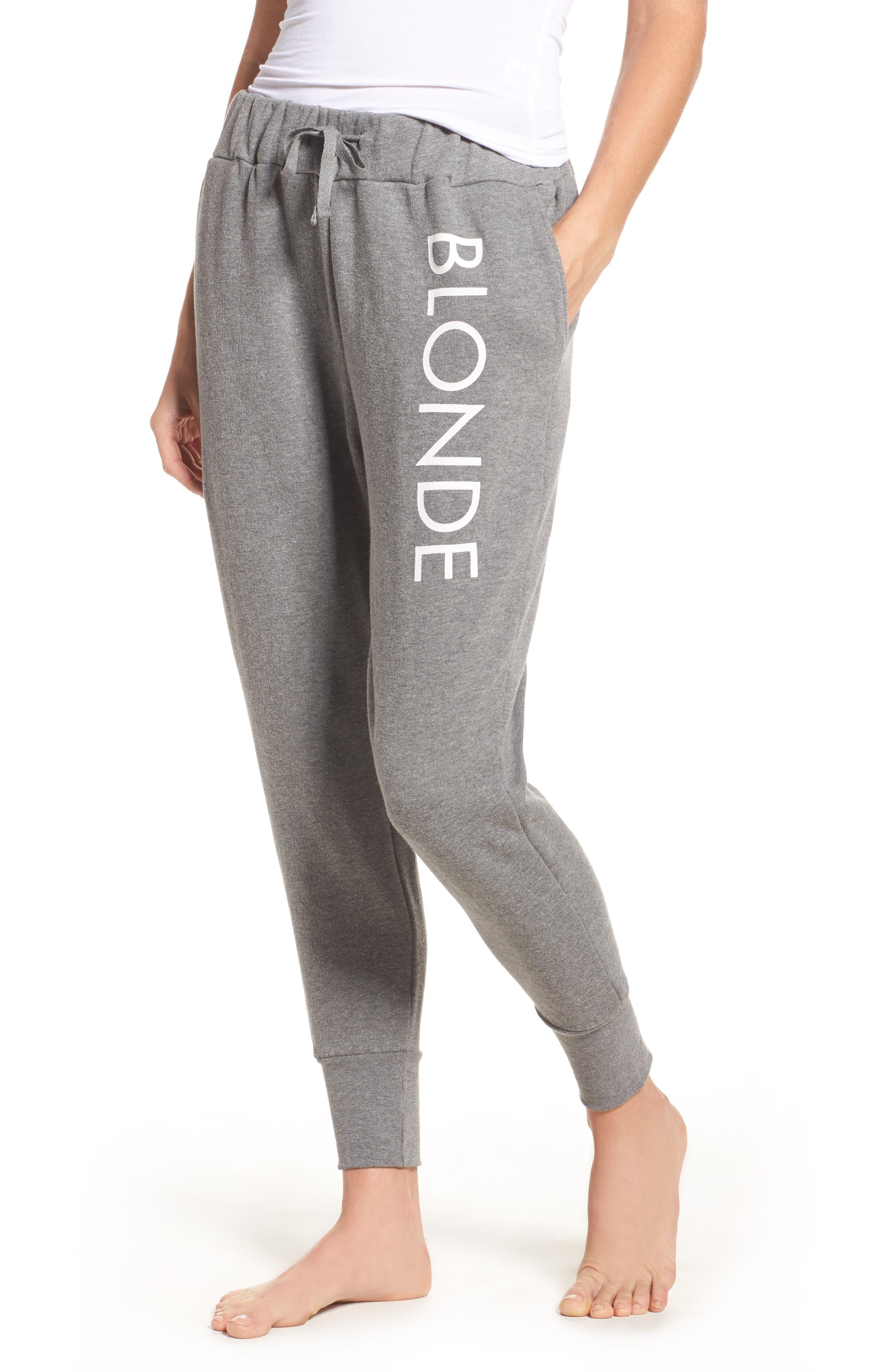 Blonde Jogger Pants,                         Main,                         color, Heather Grey Black