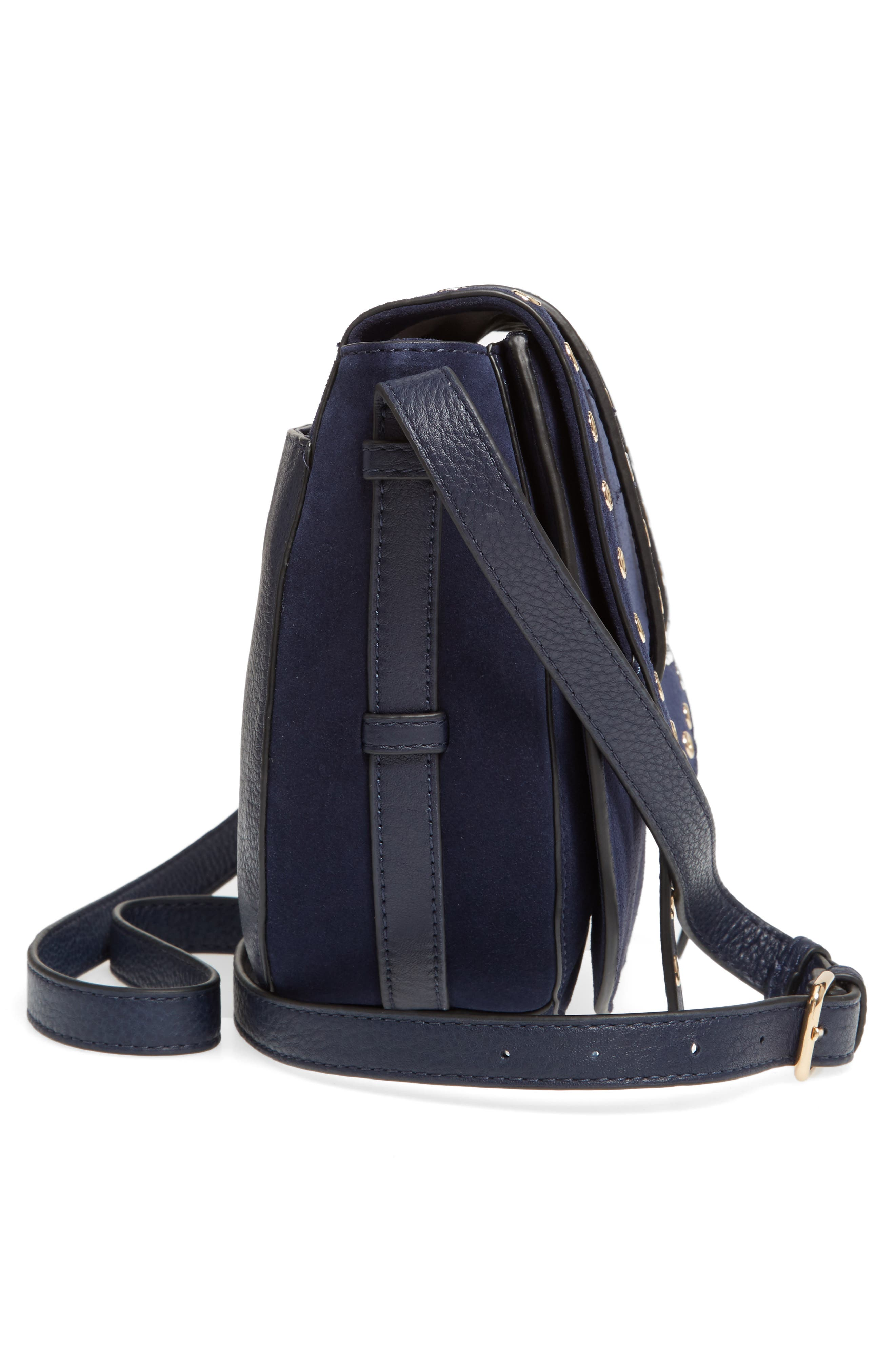 Areli Suede & Leather Crossbody Saddle Bag,                             Alternate thumbnail 5, color,                             Winter Navy
