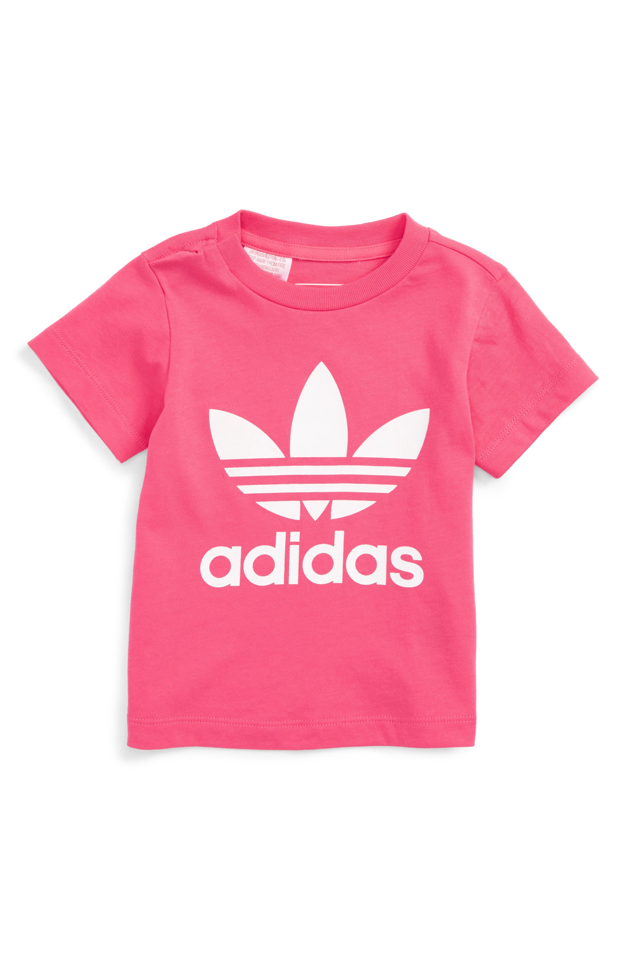 Originals Trefoil Logo Tee,                             Main thumbnail 1, color,                             Real Pink / White