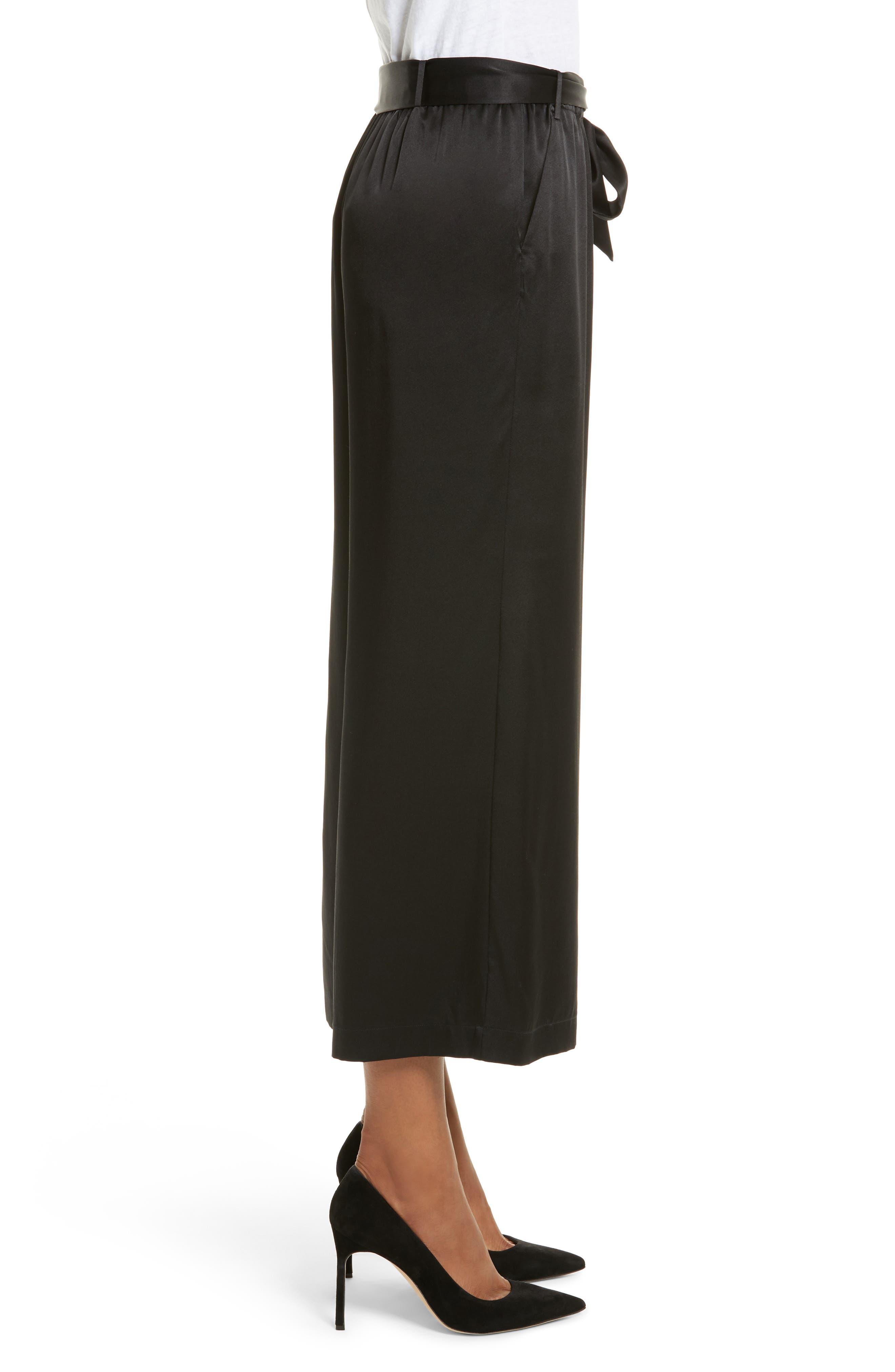Tie Waist Crop Silk Pants,                             Alternate thumbnail 4, color,                             Noir