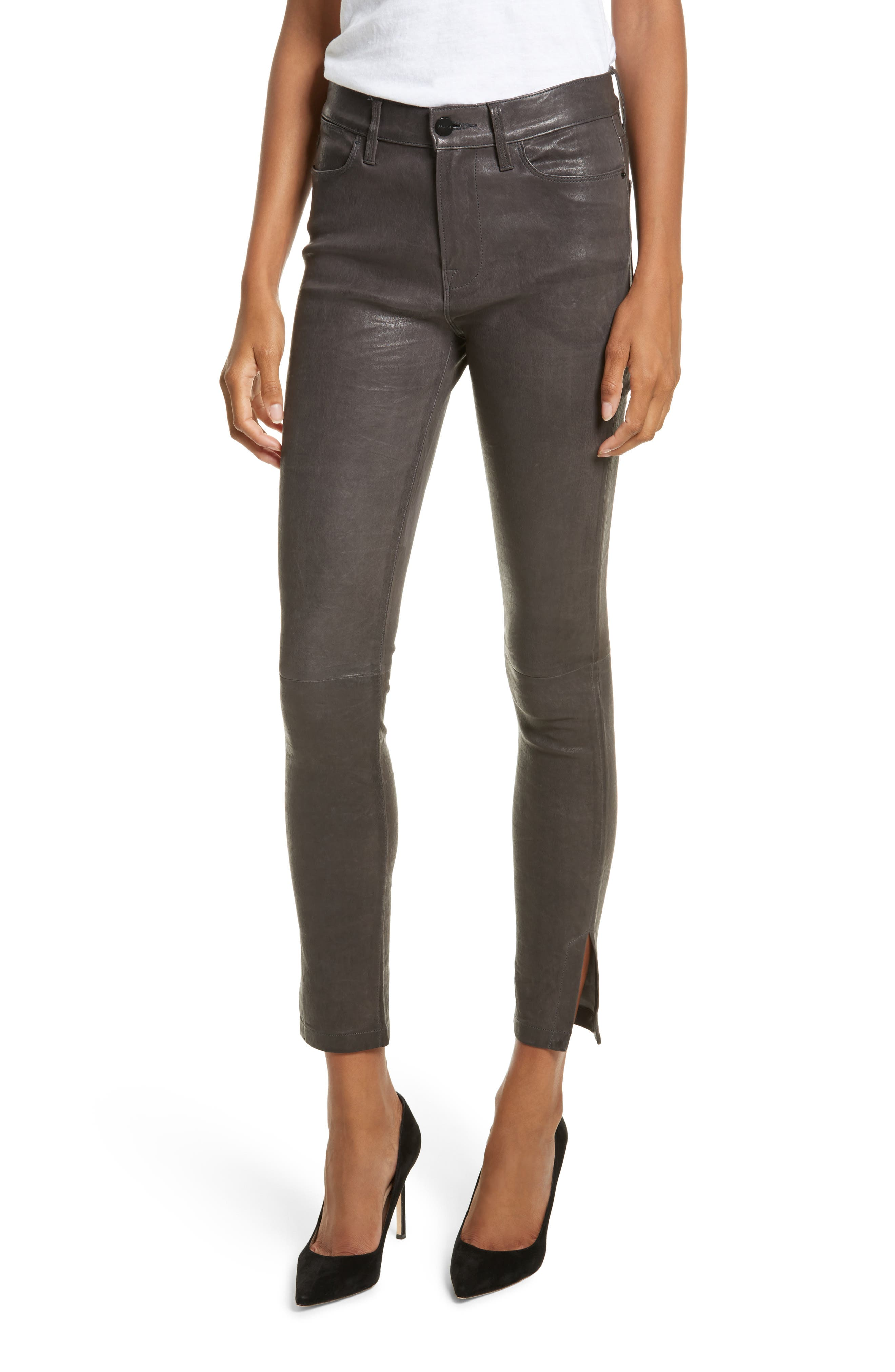 Le High Skinny Slit Leather Pants,                         Main,                         color, Charcoal