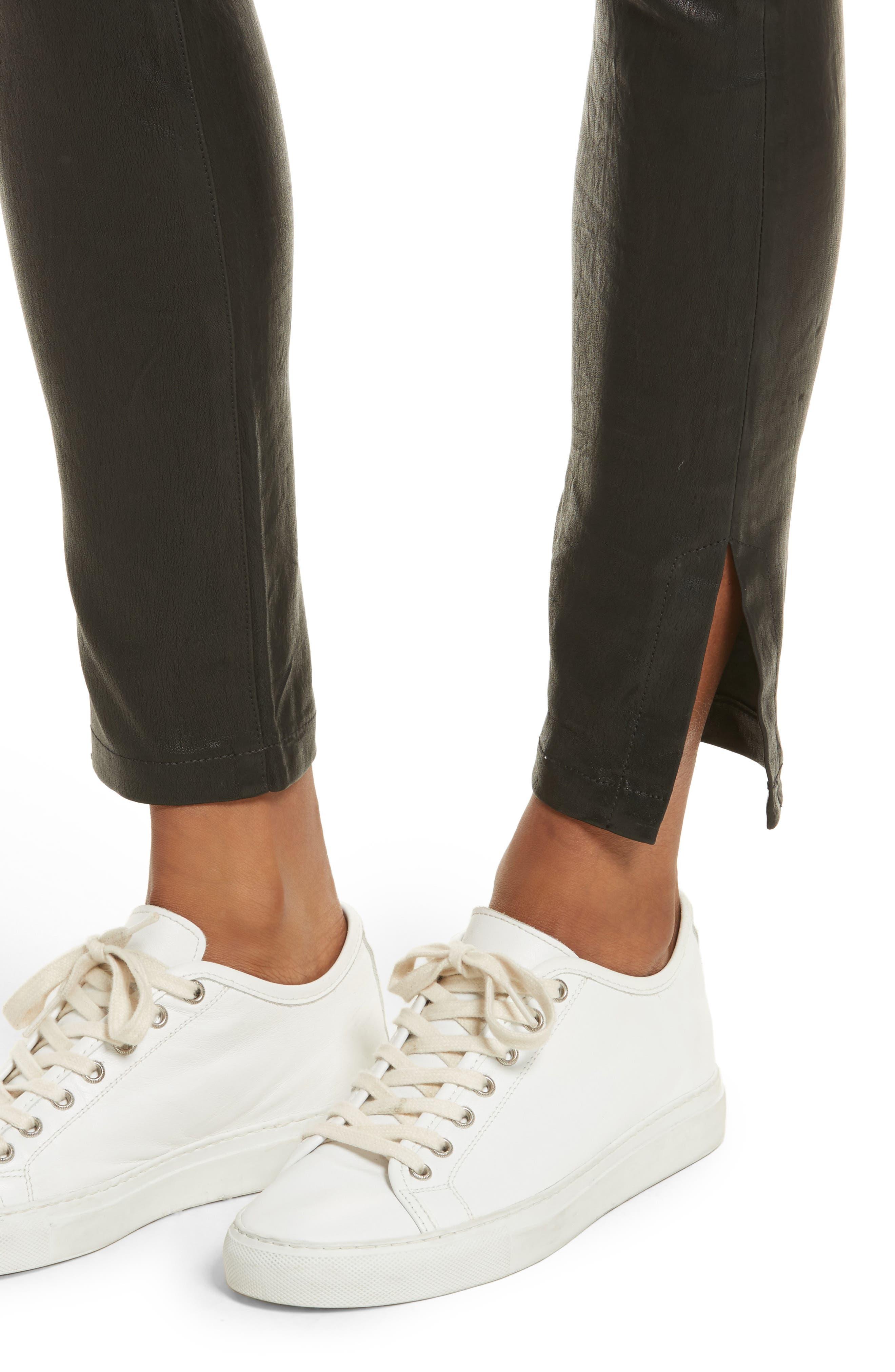 Le High Skinny Slit Leather Pants,                             Alternate thumbnail 4, color,                             Washed Black