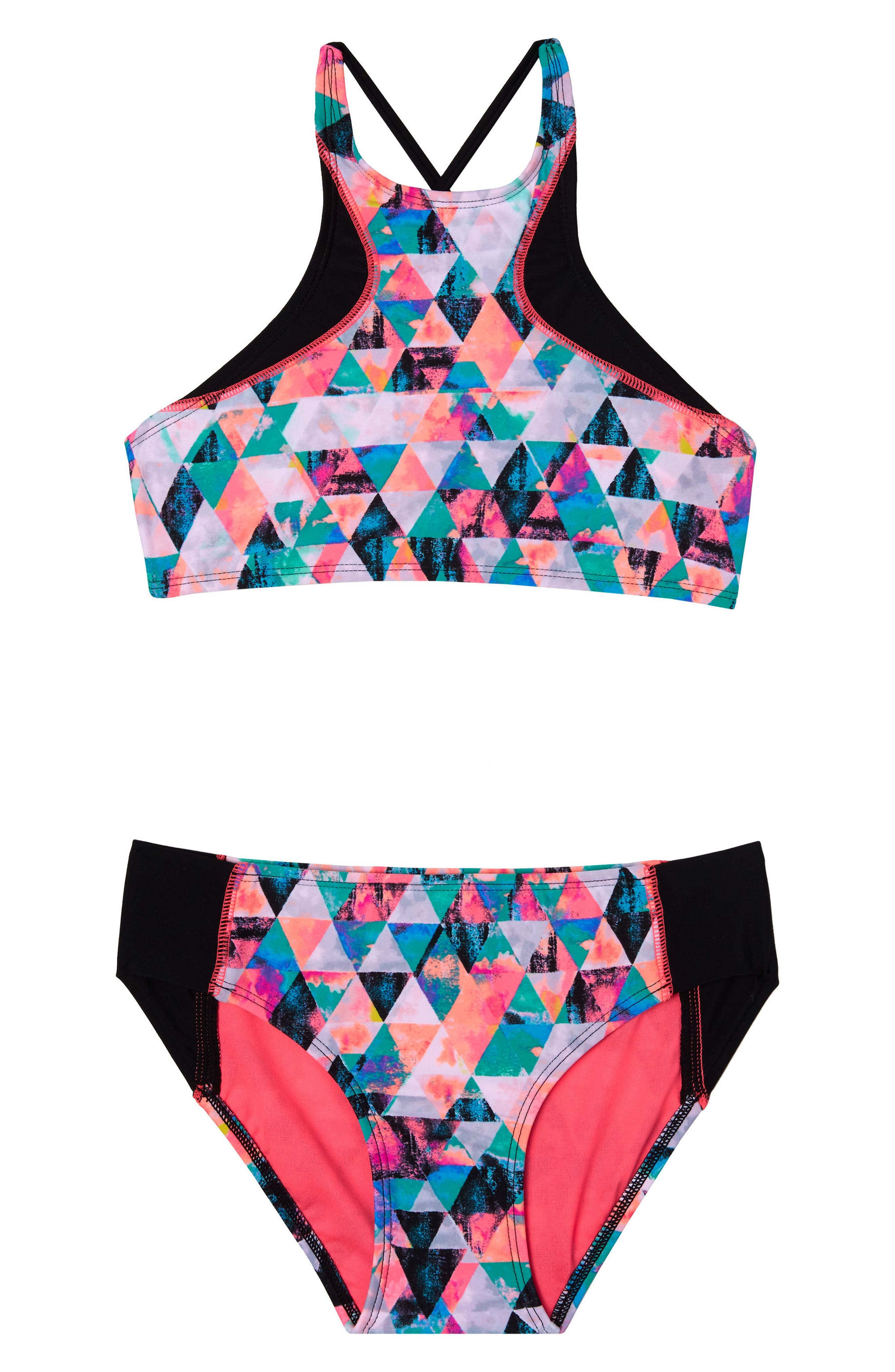 Kaleidoscope Daydream Two-Piece Swimsuit,                         Main,                         color, Black
