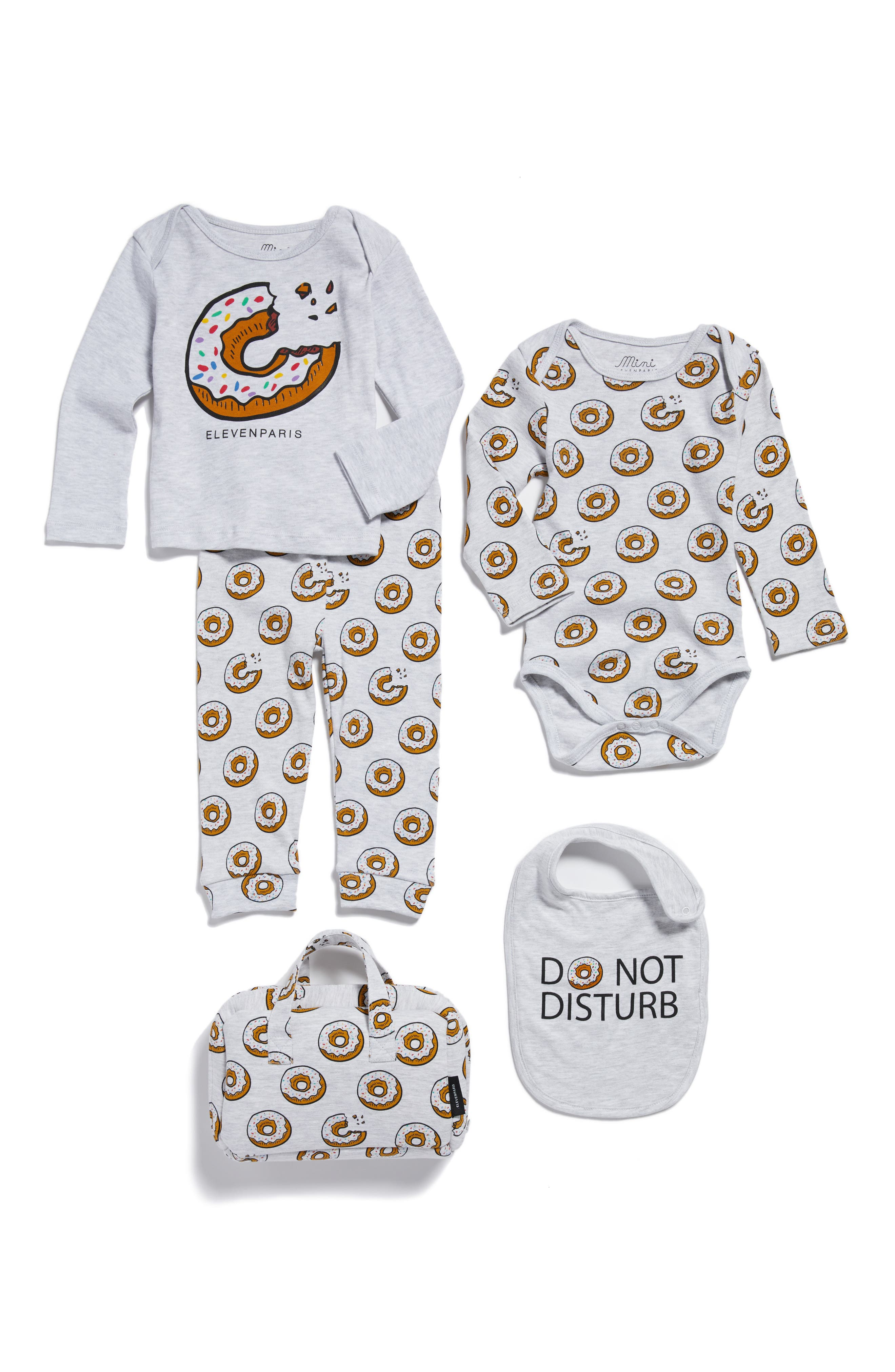 Main Image - Little ELEVENPARIS Donut Print Tee, Pants, Bodysuit & Bib Set (Baby Girls)