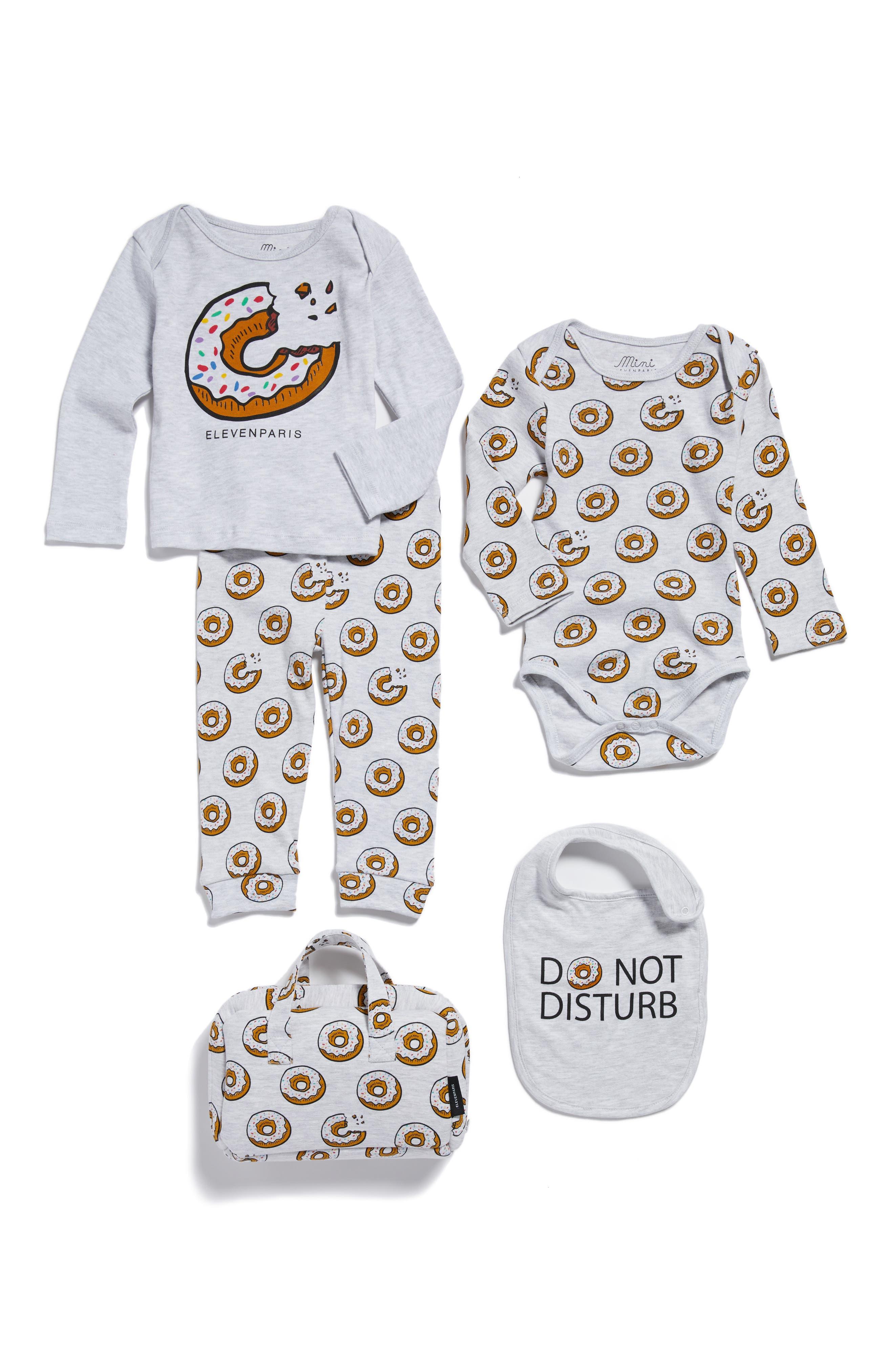 Donut Print Tee, Pants, Bodysuit & Bib Set,                         Main,                         color, Light Grey