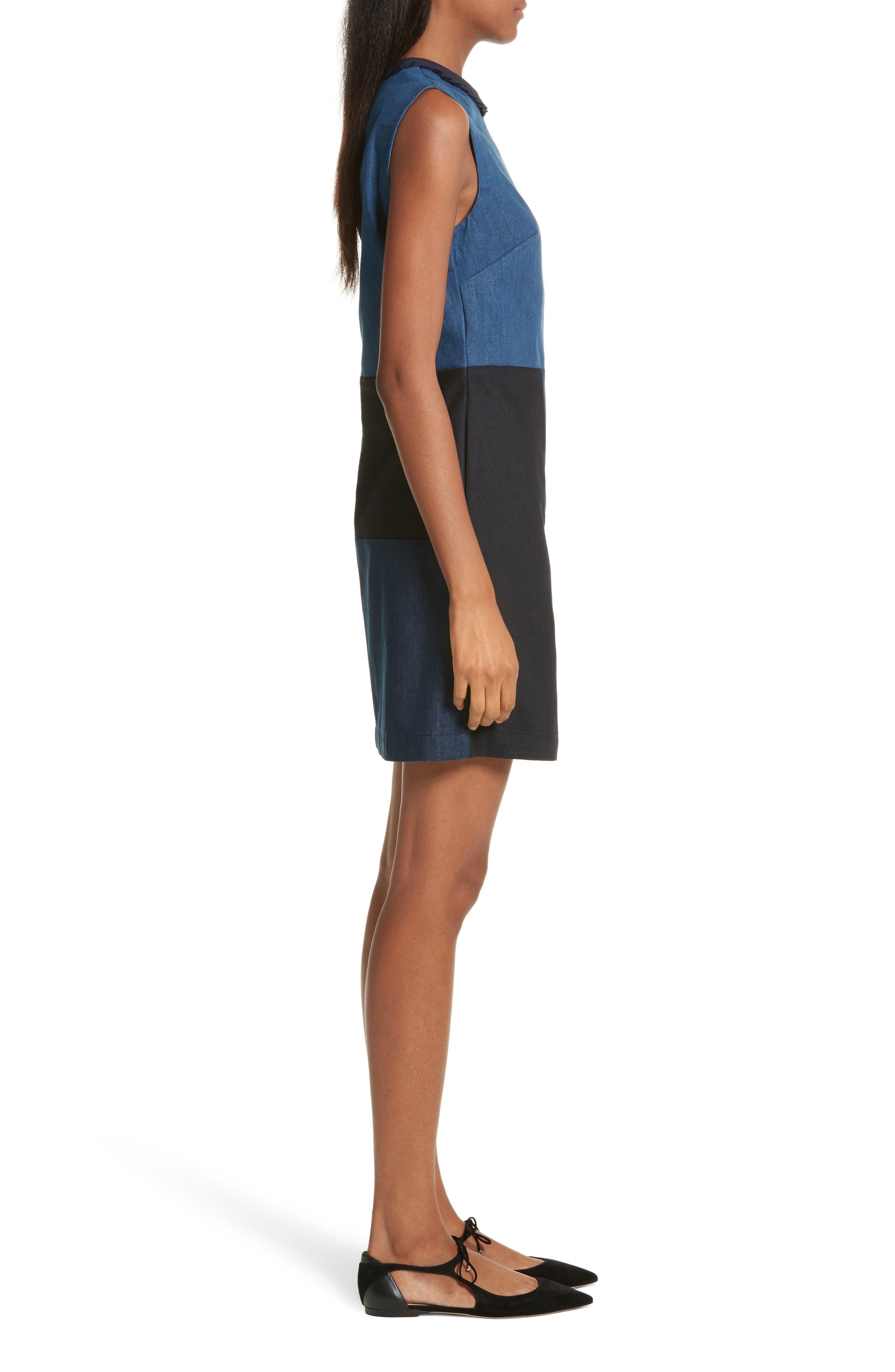 Ted Baker Morfee London Colorblock Denim A-Line Dress,                             Alternate thumbnail 3, color,                             Mid Wash