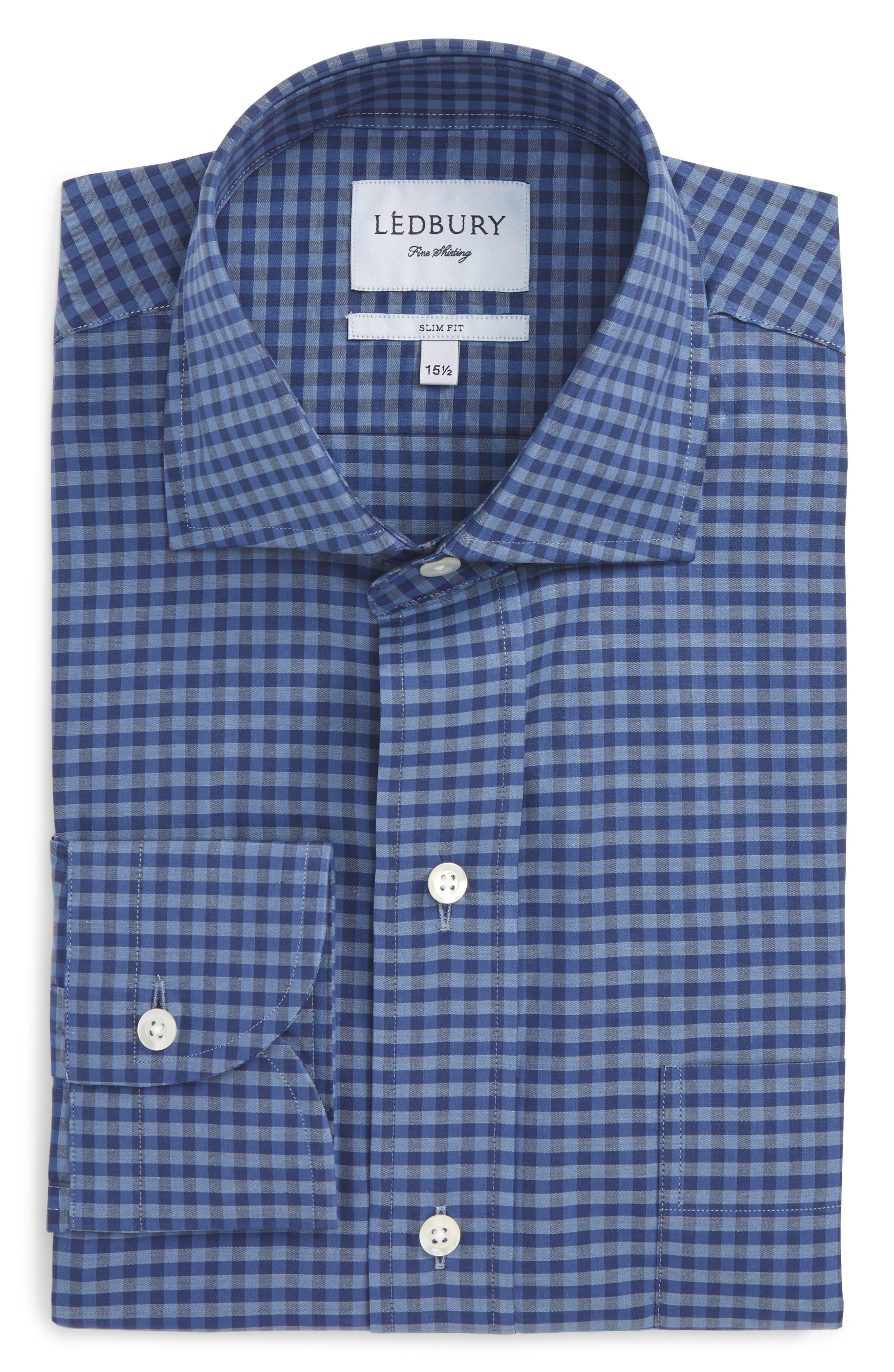 Slim Fit Check Dress Shirt,                         Main,                         color, Deep Blue