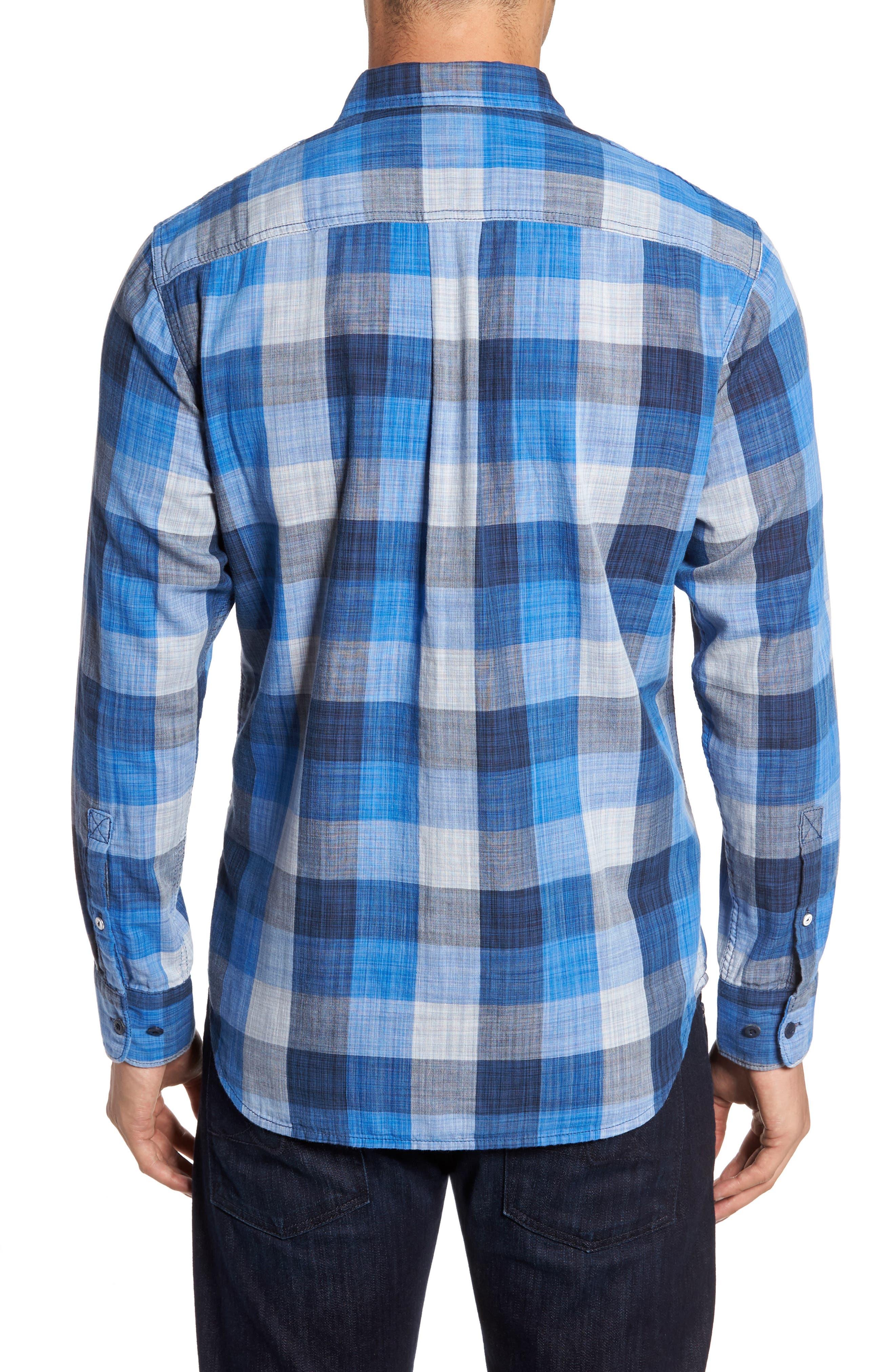 Dual Lux Standard Fit Check Sport Shirt,                             Alternate thumbnail 2, color,                             Bering Blue
