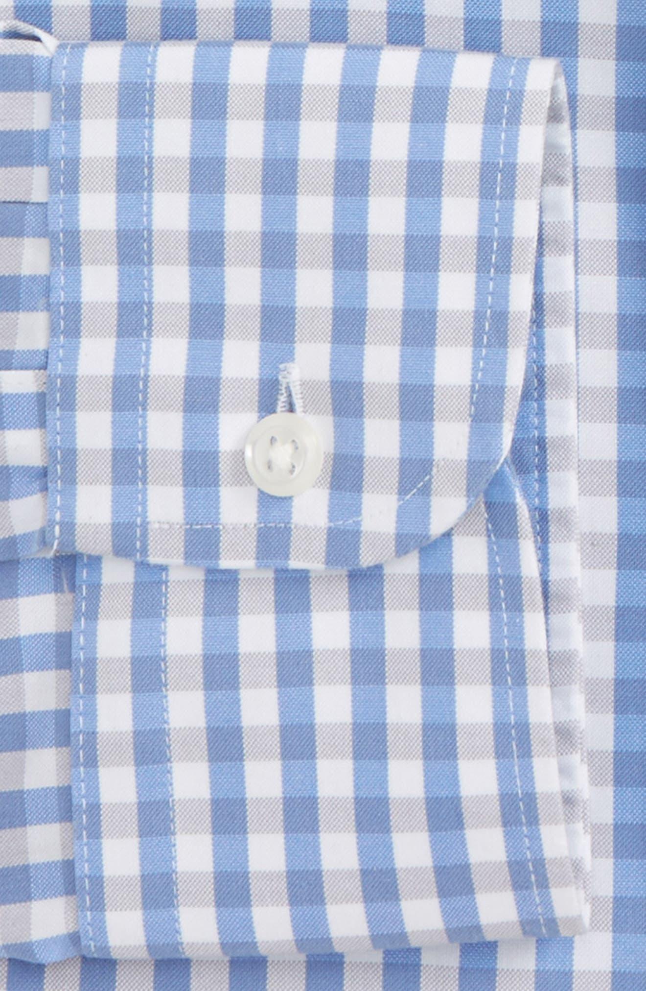 Smartcare<sup>™</sup> Classic Fit Check Dress Shirt,                             Alternate thumbnail 5, color,                             Grey Micro