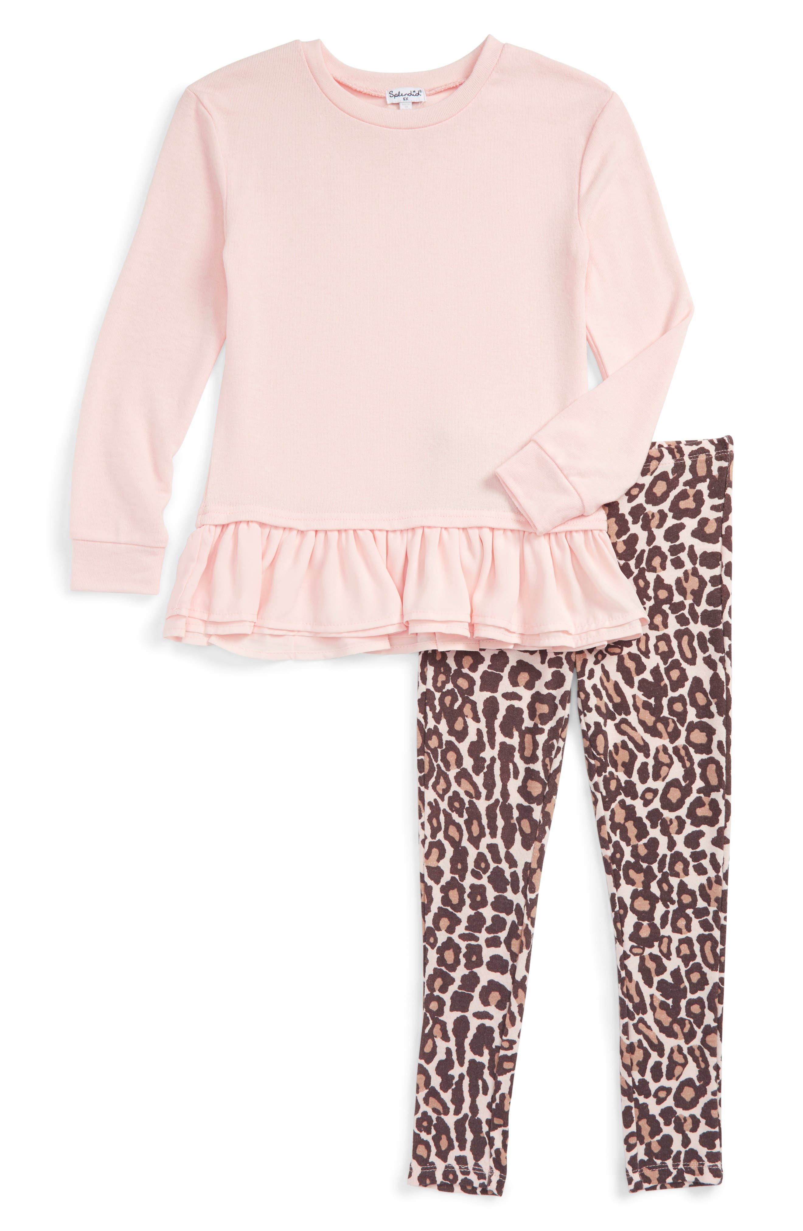 Splendid Ruffle Hem Top & Animal Print Leggings Set (Toddler Girls & Little Girls)