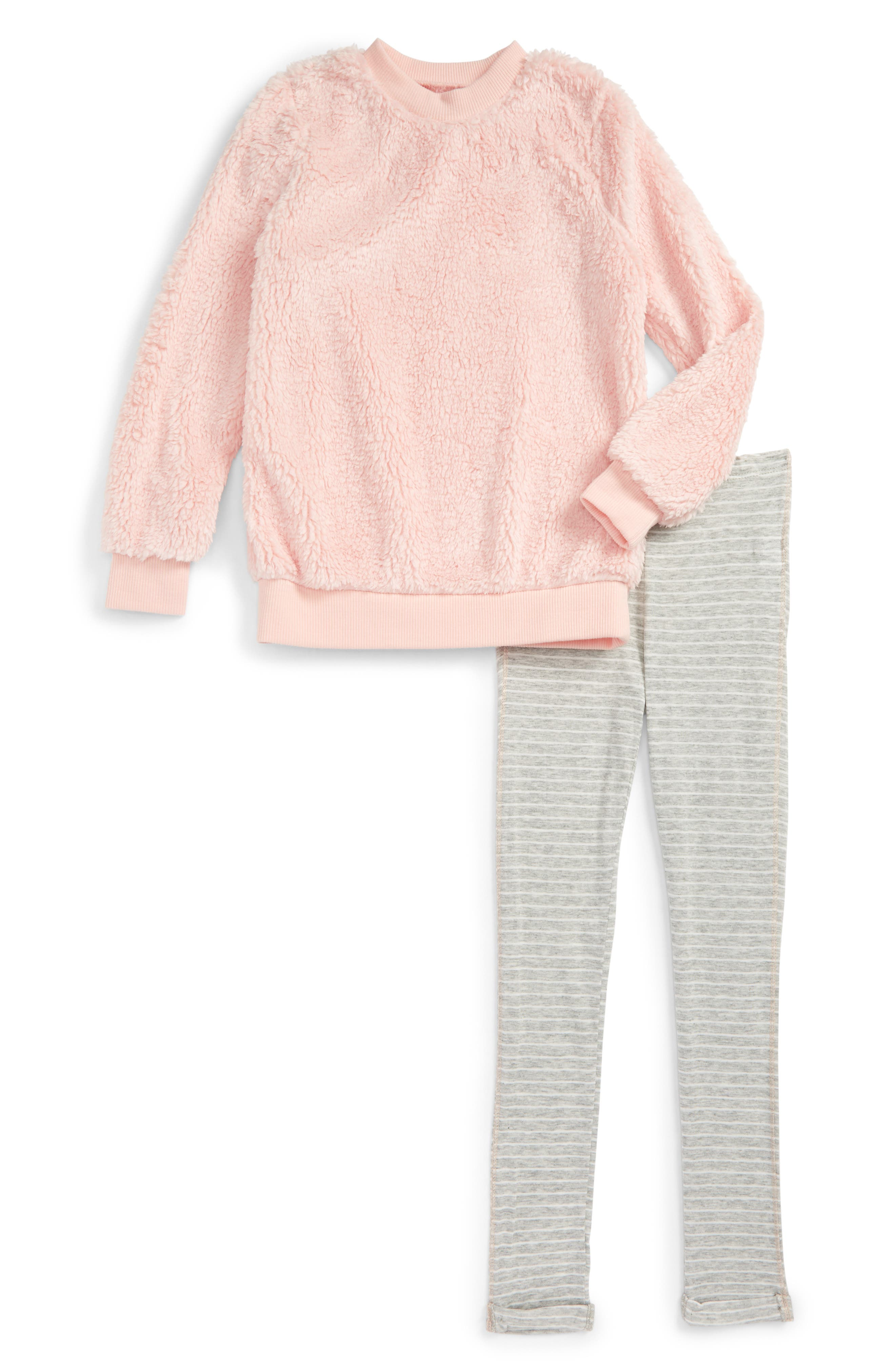 Faux Fur Pullover & Stripe Leggings Set,                         Main,                         color, Light Pink S680