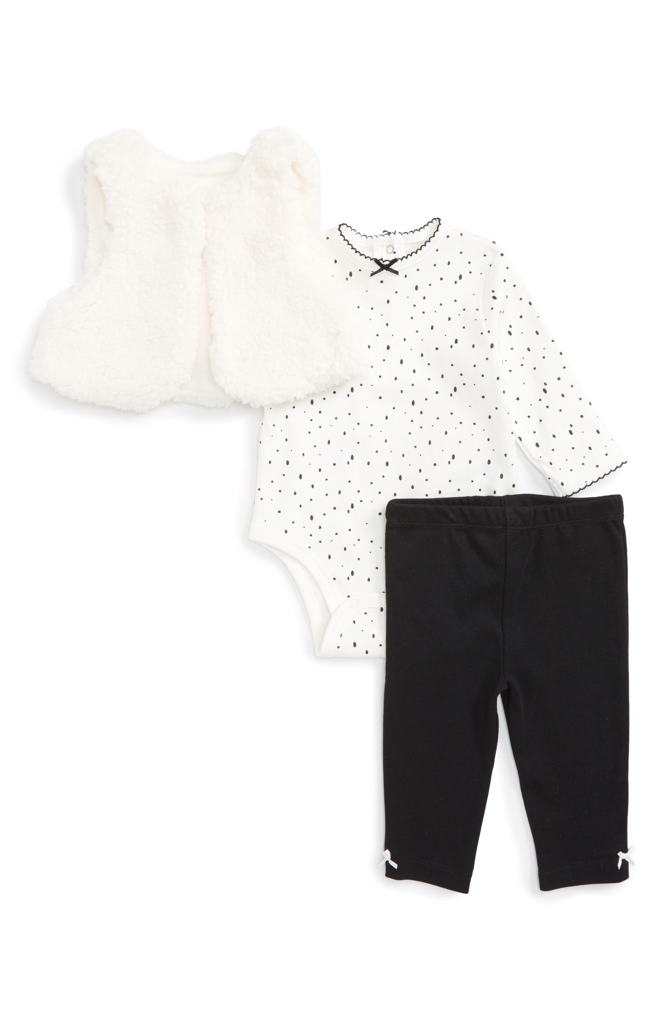 Little Me Dalmatian Fleece Vest, Bodysuit & Leggings Set (Baby Girls)