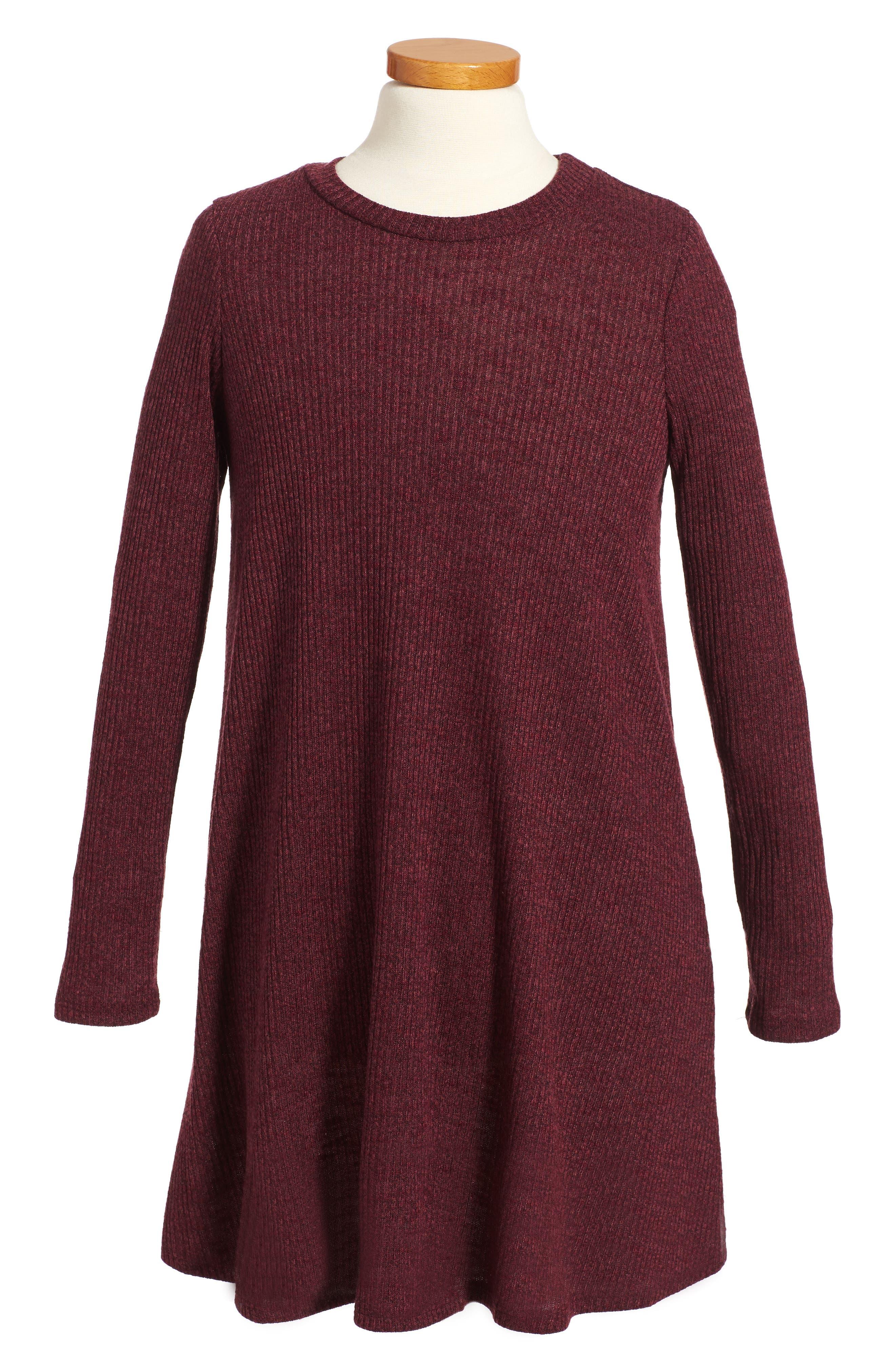 Rib Knit Sweater Dress,                             Main thumbnail 1, color,                             004 Wine
