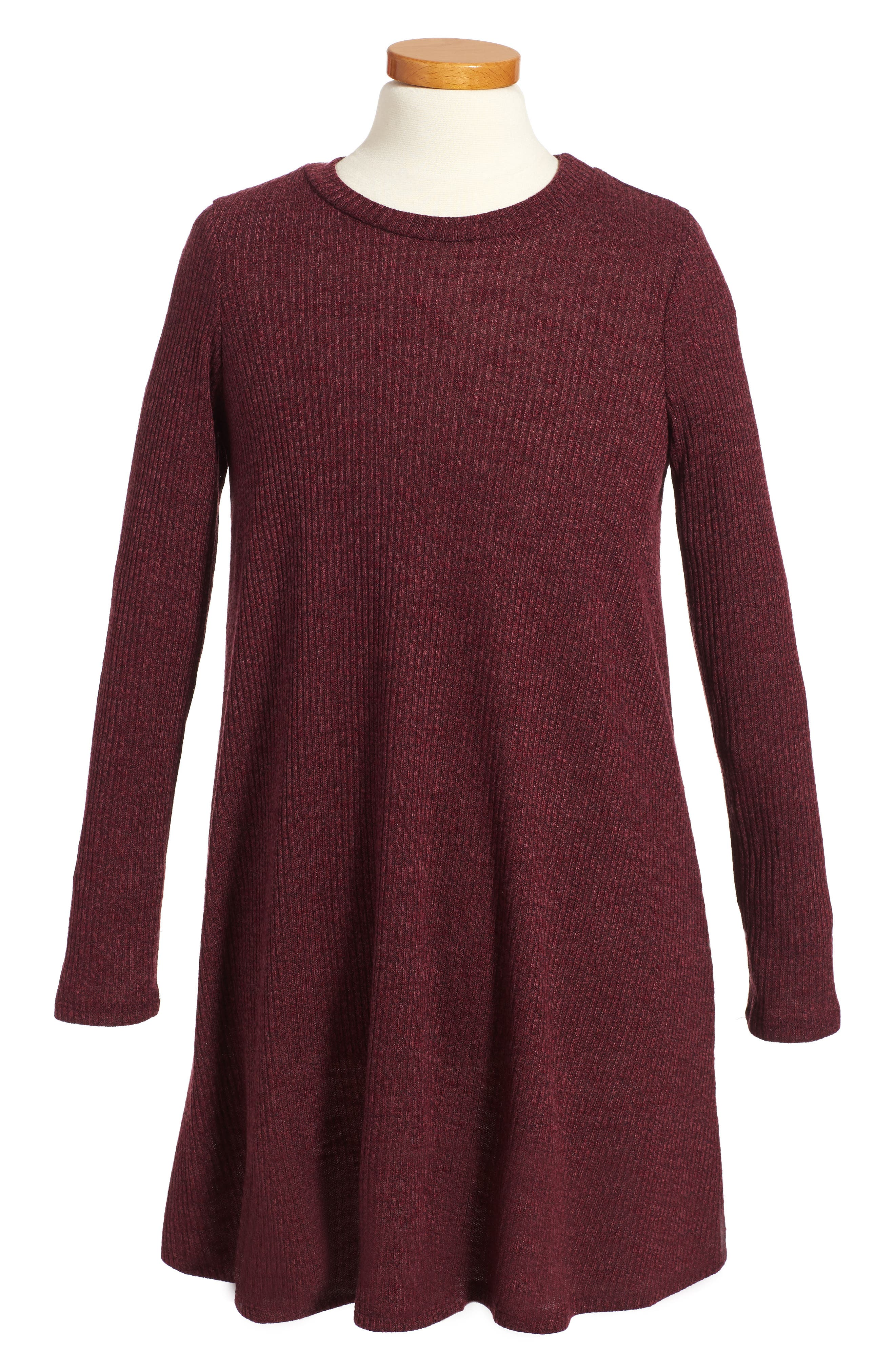 Rib Knit Sweater Dress,                         Main,                         color, 004 Wine