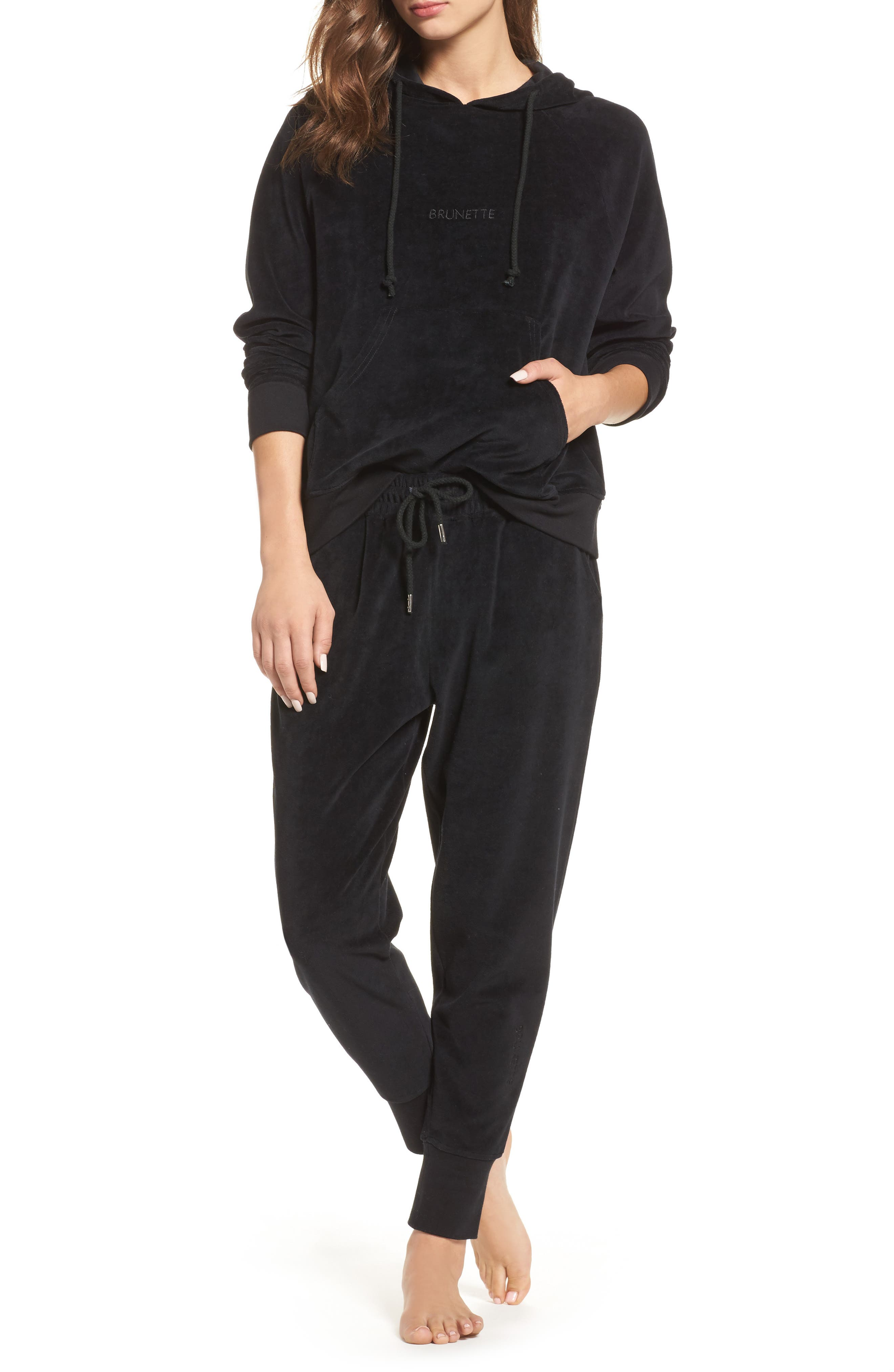 Brunette Embroidered Velour Jogger Pants,                             Alternate thumbnail 6, color,                             Black