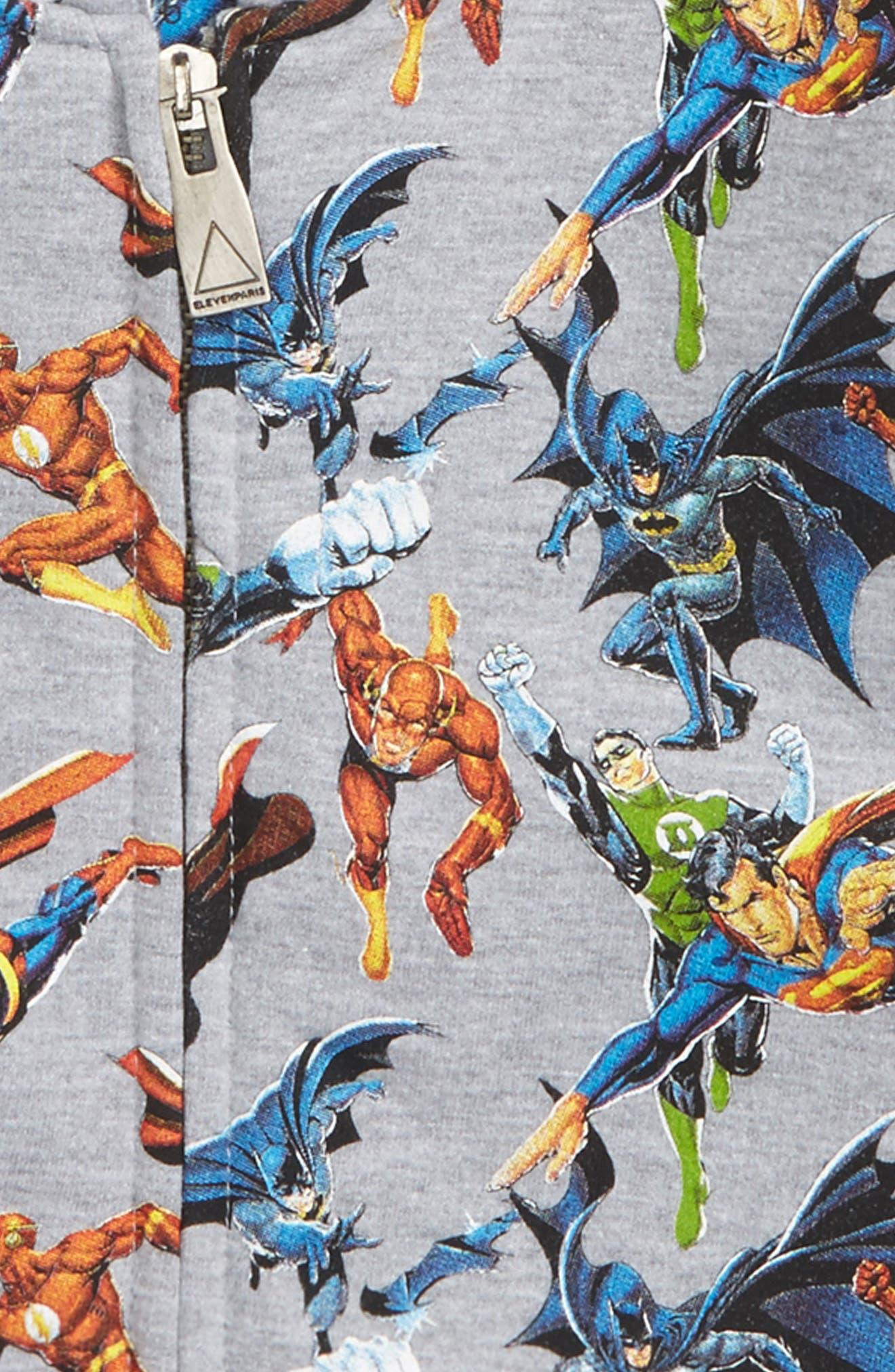 Super Heros Graphic Zip Hoodie,                             Alternate thumbnail 3, color,                             Grey