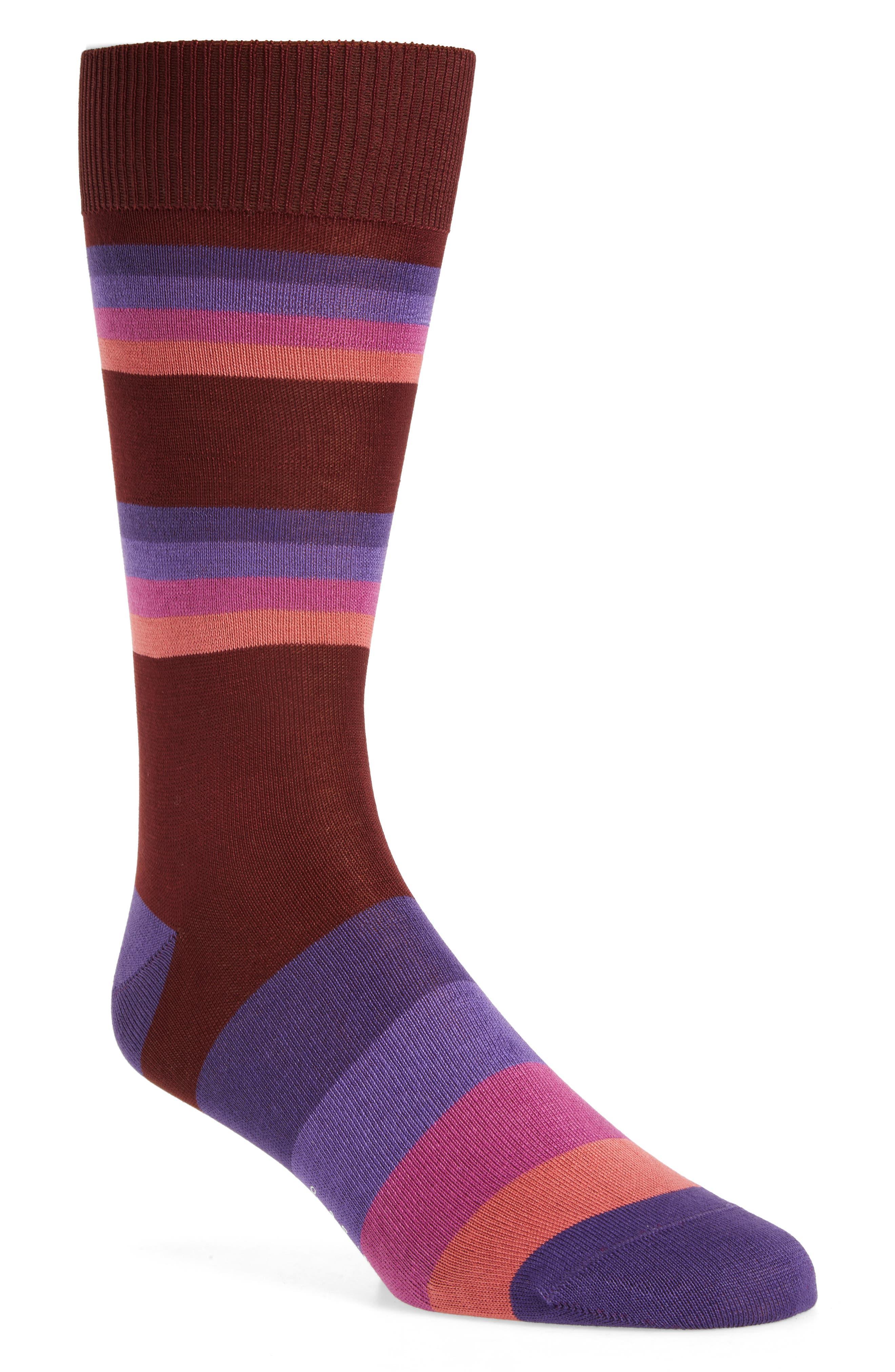 Boston Stripe Socks,                         Main,                         color, Burgundy