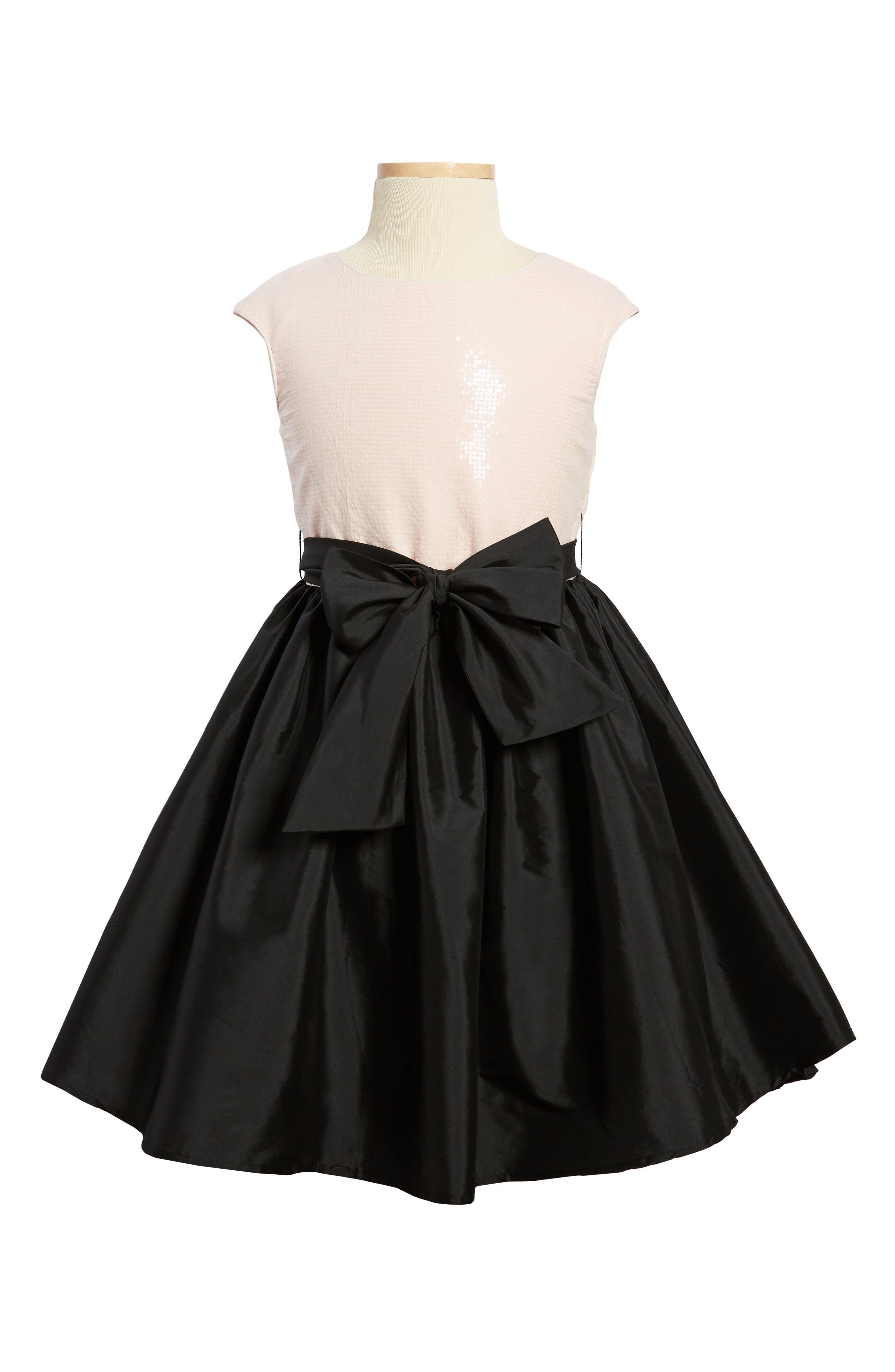 Sequin Embellished Fit & Flare Dress,                         Main,                         color, Pink