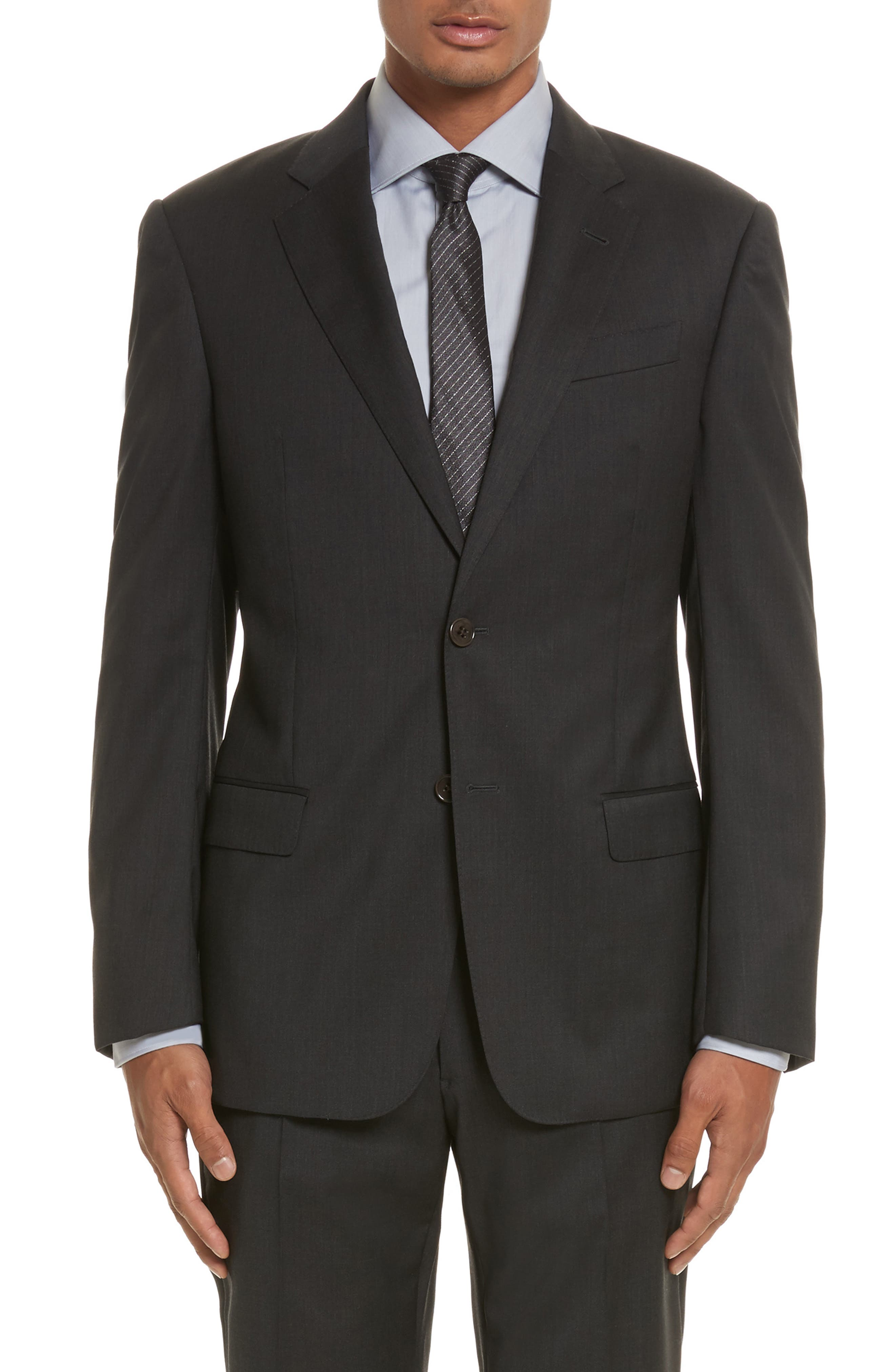 'G-Line' Trim Fit Solid Wool Suit,                             Alternate thumbnail 4, color,                             Charcoal