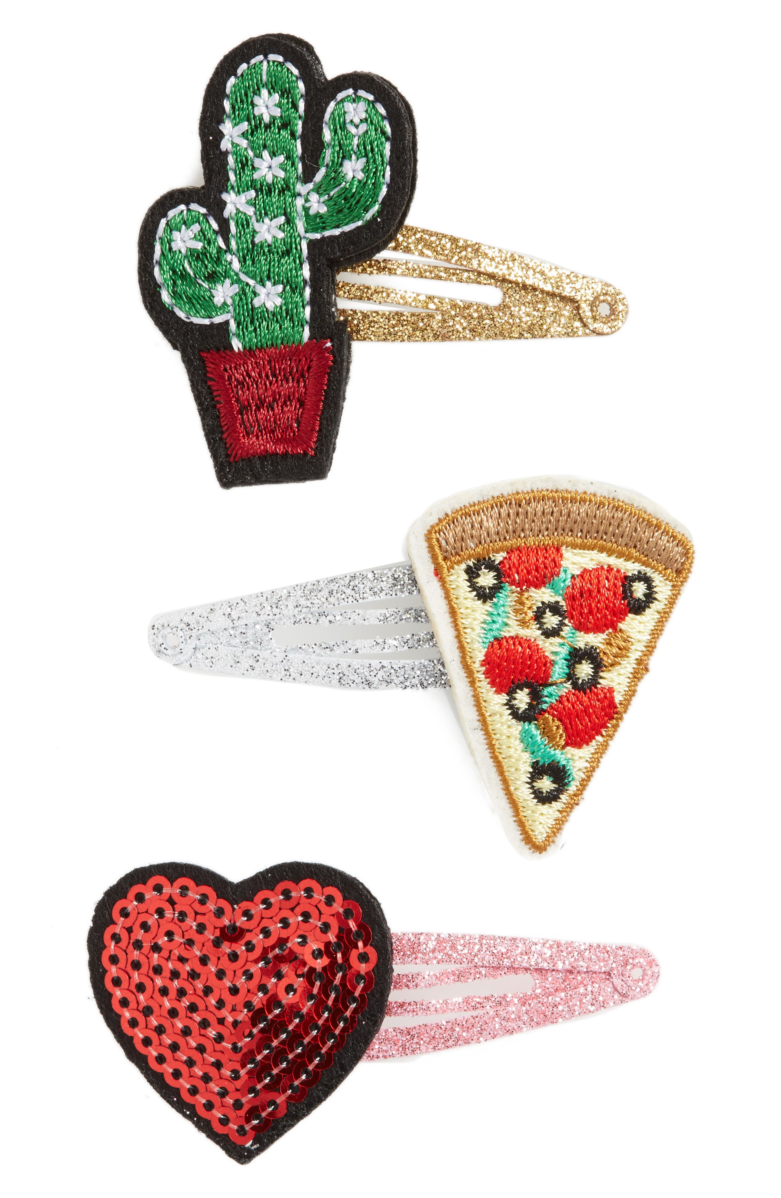 Tucker + Tate 3-Pack Patch Glitter Hair Clips (Big Girls)