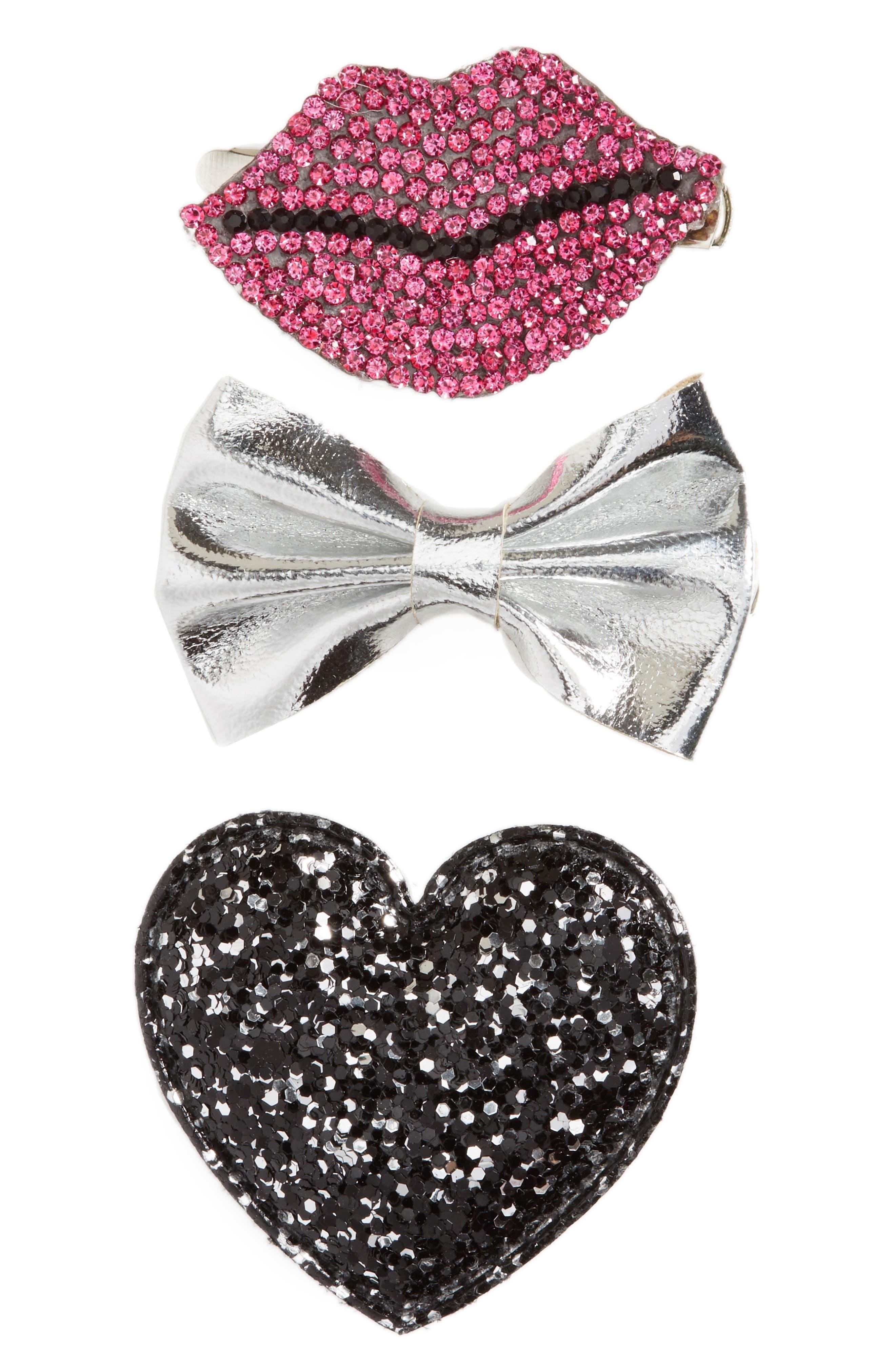 3-Piece Hair Clip Set,                         Main,                         color, Pink Multi