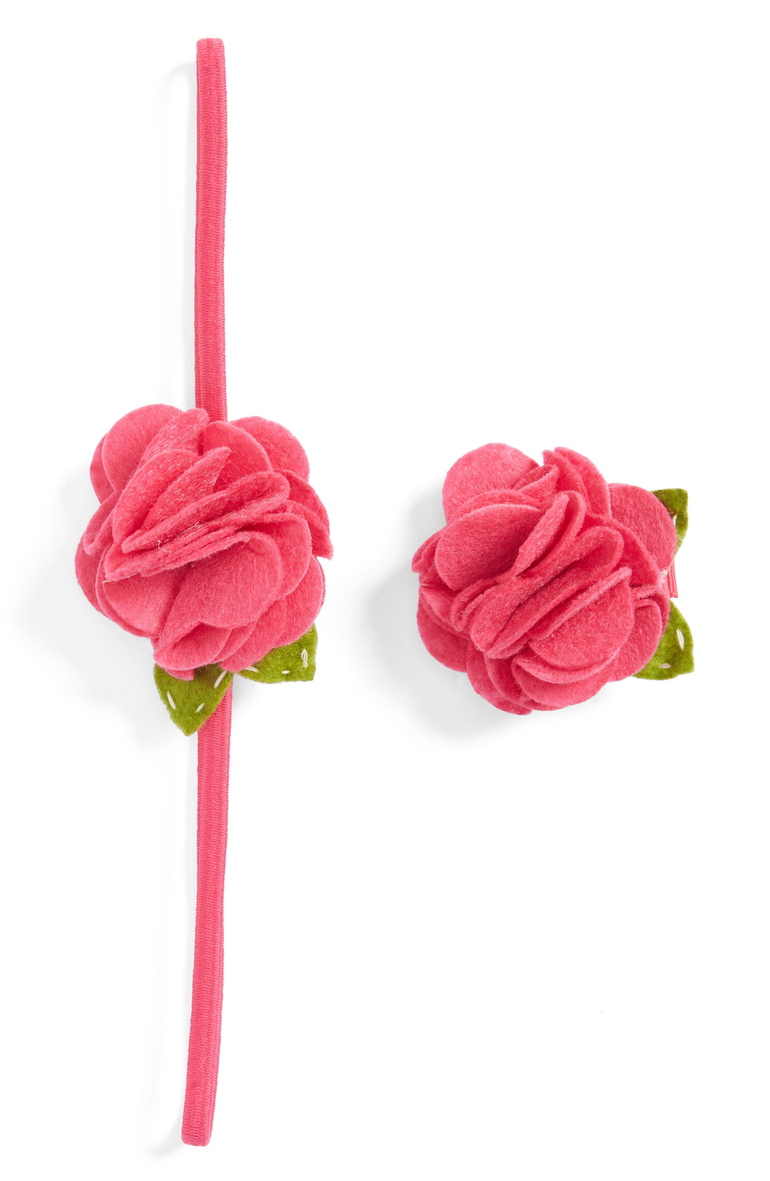 Rose Headband & Hair Clip Set,                         Main,                         color, Fuchsia